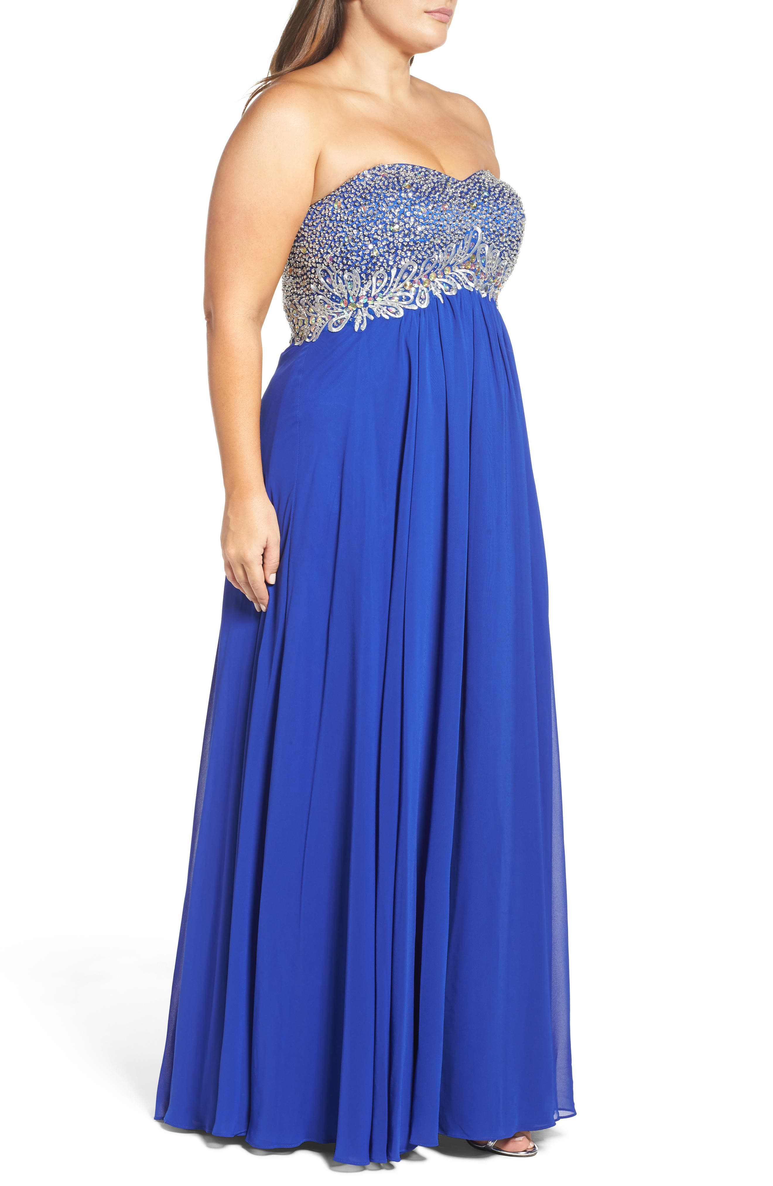Embellished Strapless Gown,                             Alternate thumbnail 3, color,                             432