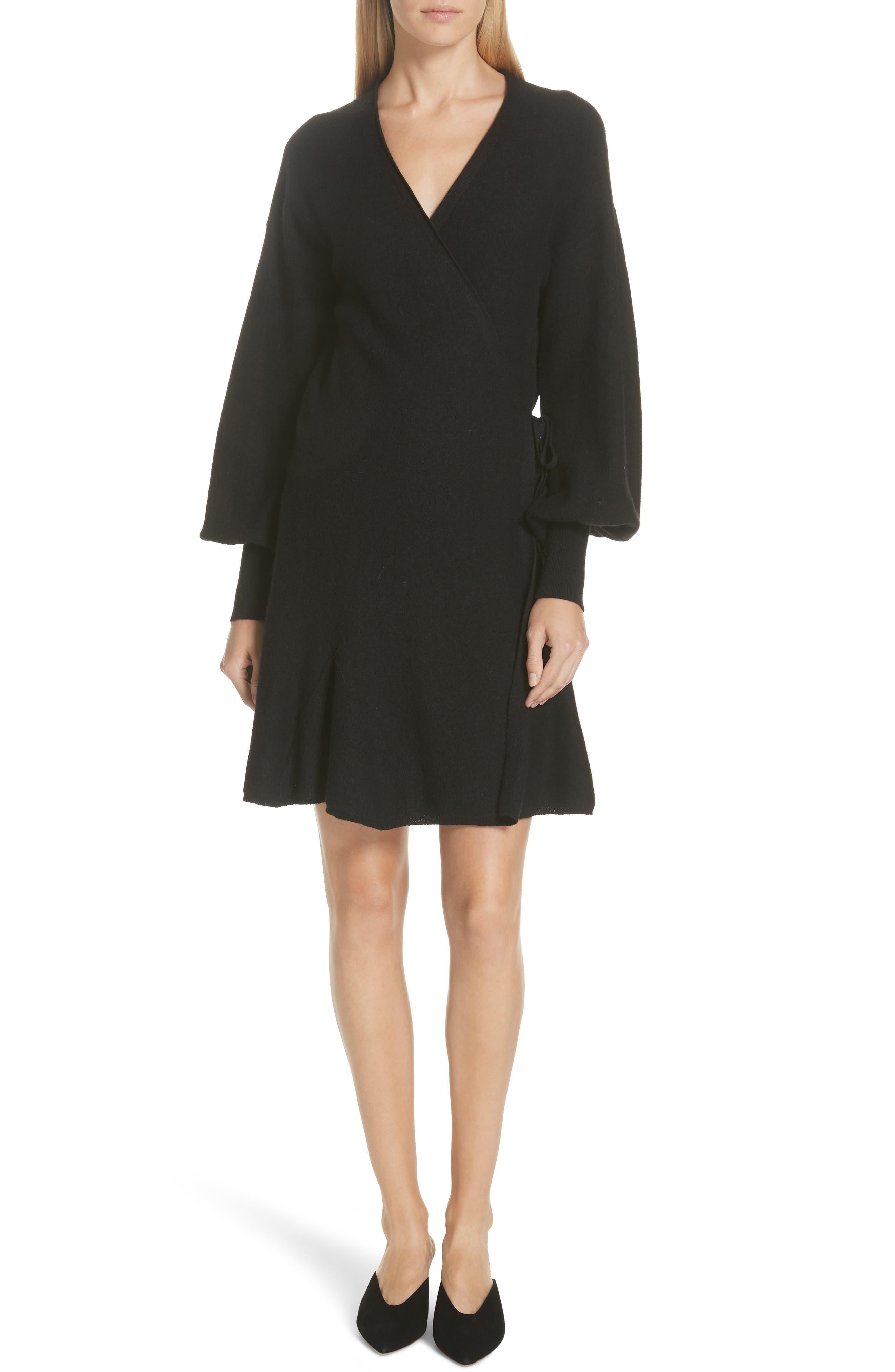 Sevilla Wool Felt Dress,                             Main thumbnail 1, color,                             BLACK