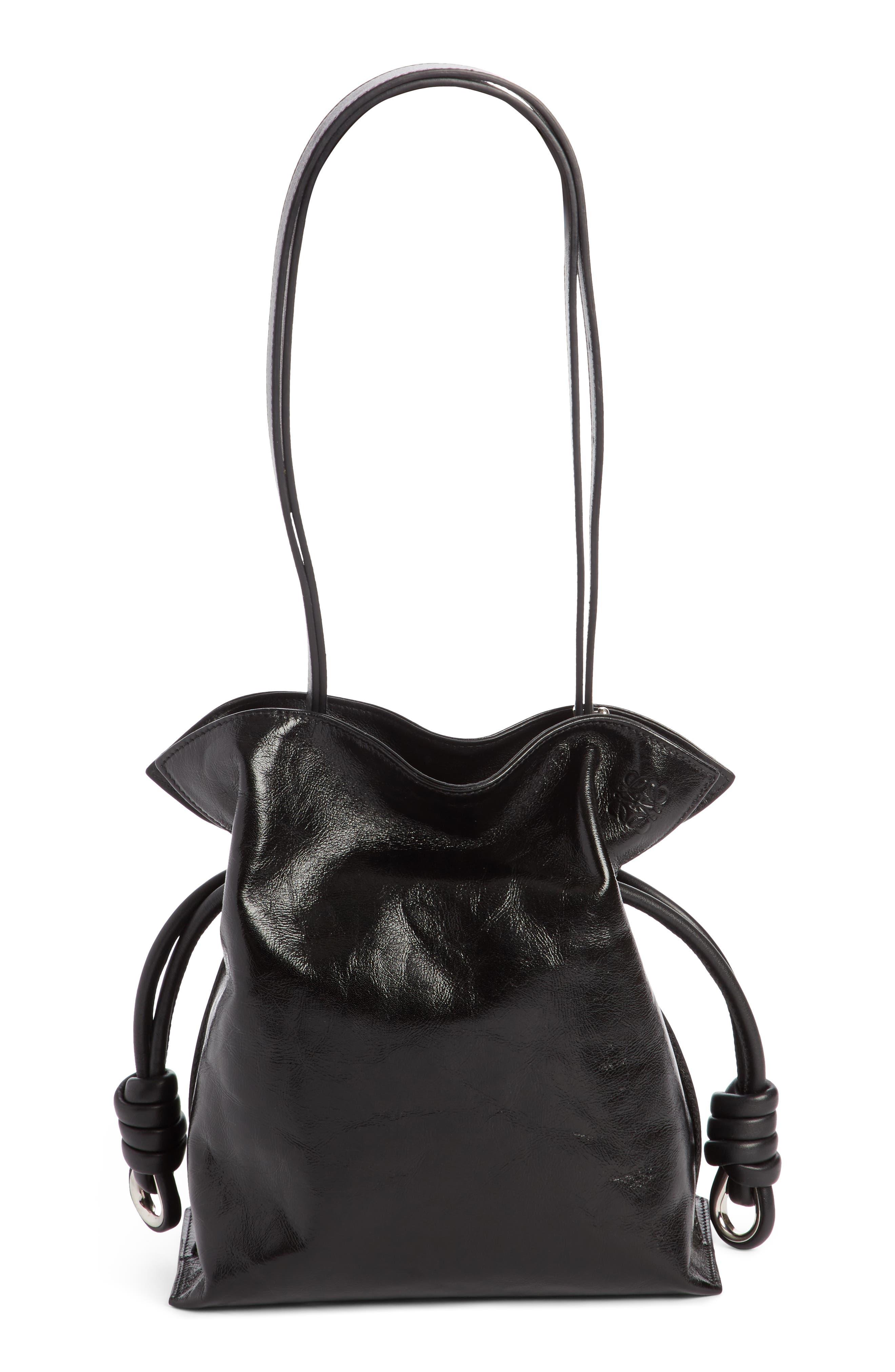 Small Flamenco Knot Leather Bag,                             Alternate thumbnail 2, color,                             001