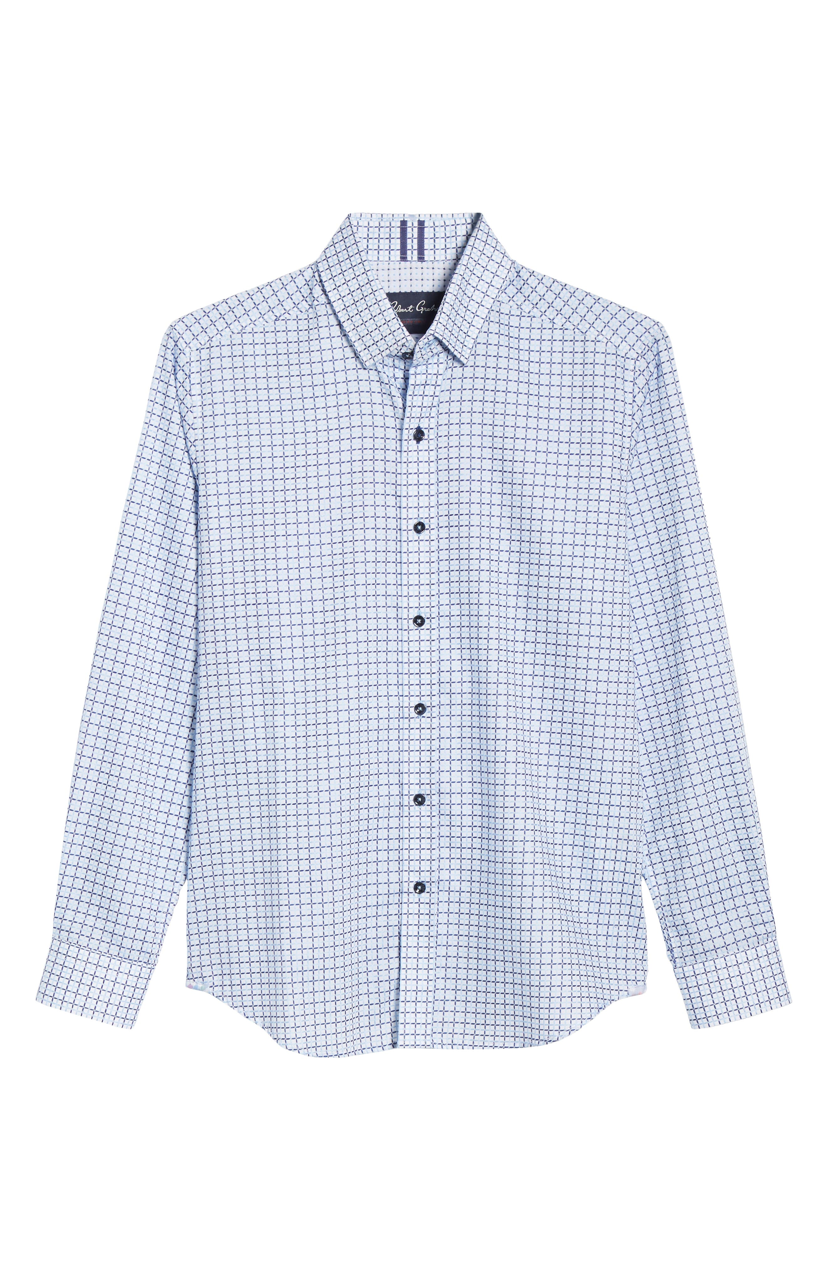 ROBERT GRAHAM,                             Axton Tailored Fit Check Sport Shirt,                             Alternate thumbnail 5, color,                             BLUE