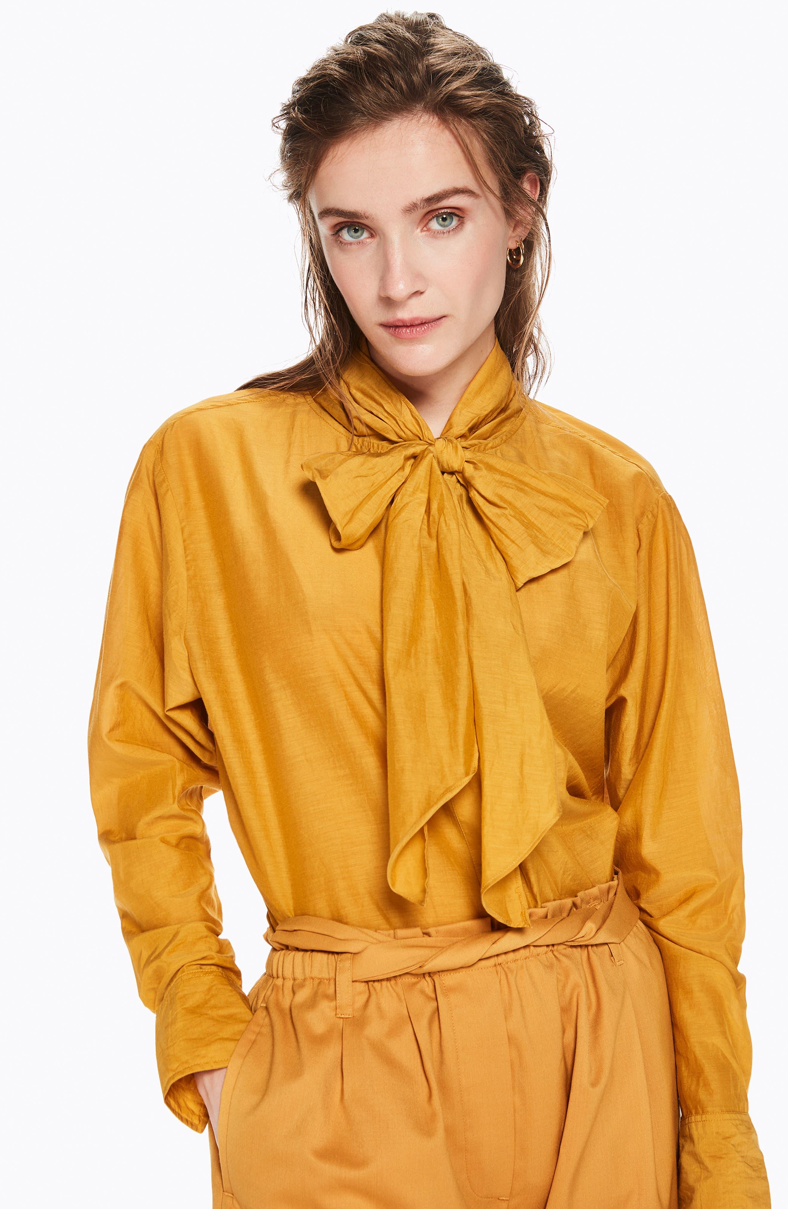 Cotton Silk Bow Tie Blouse,                             Alternate thumbnail 7, color,                             720