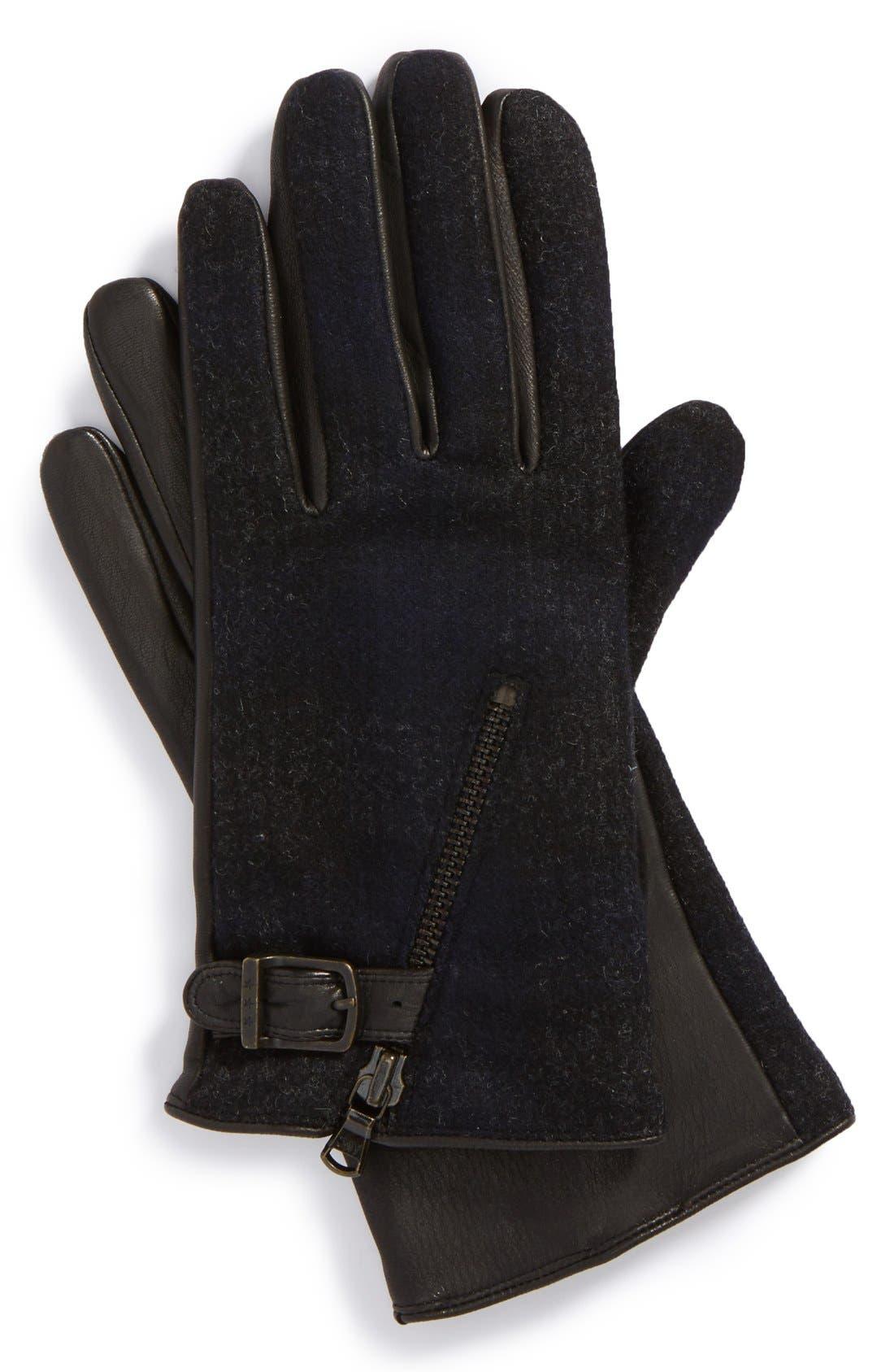 Wool Blend Zip Gloves,                             Main thumbnail 3, color,