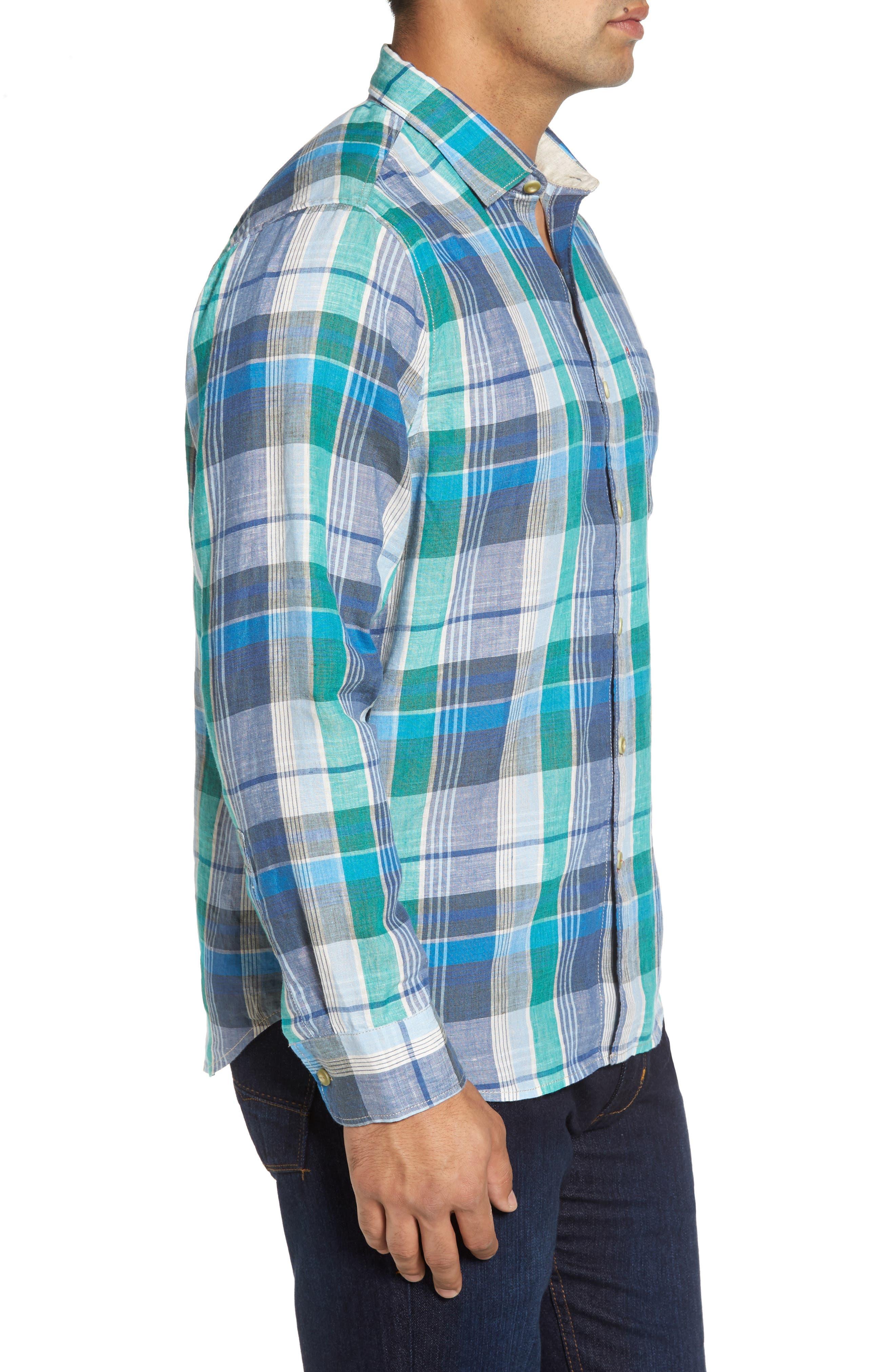 TOMMY BAHAMA,                             Vero Beach Madras Plaid Linen Sport Shirt,                             Alternate thumbnail 3, color,                             300