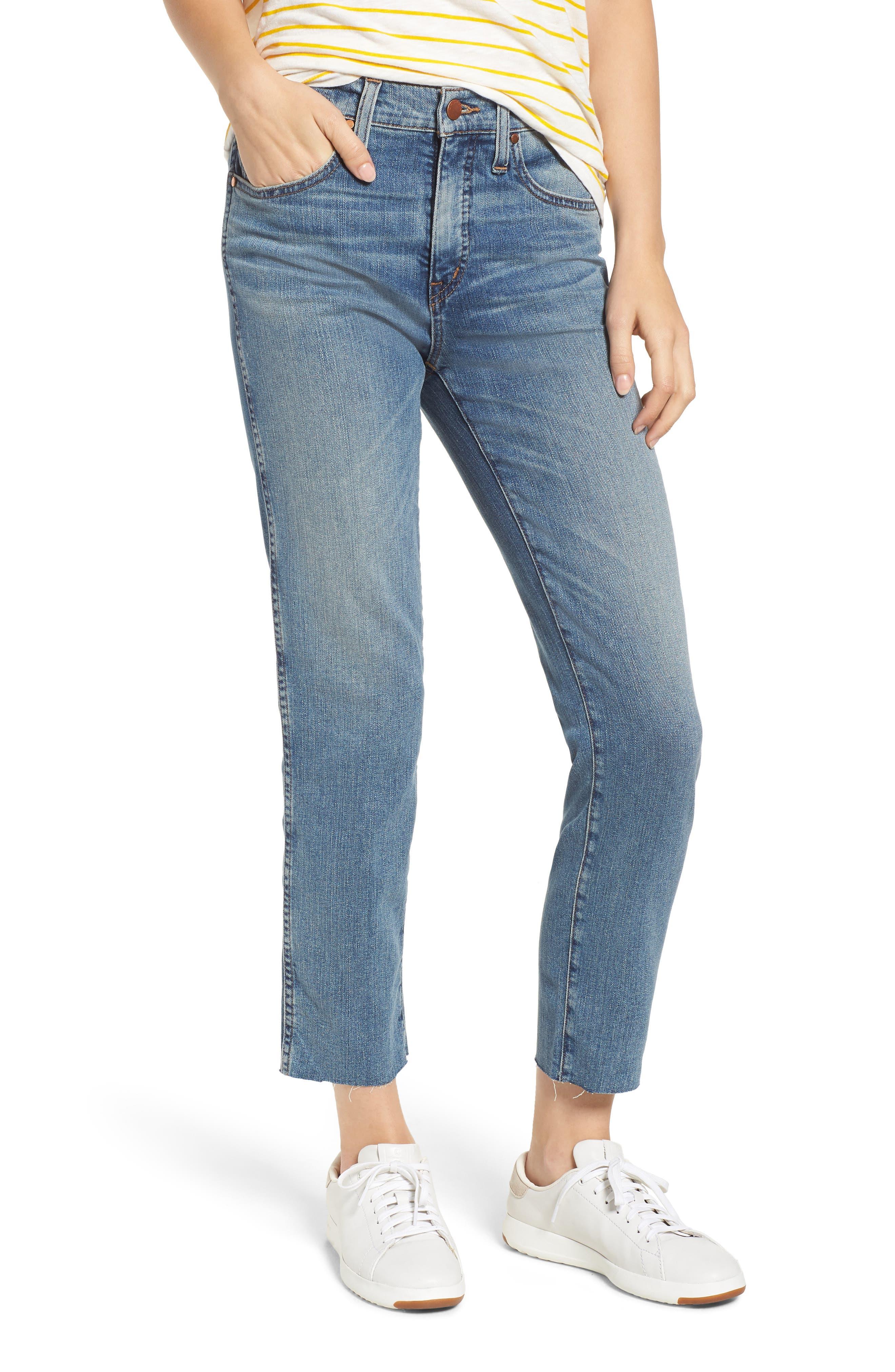 Raw Hem Slim Straight Leg Jeans,                             Main thumbnail 1, color,                             420