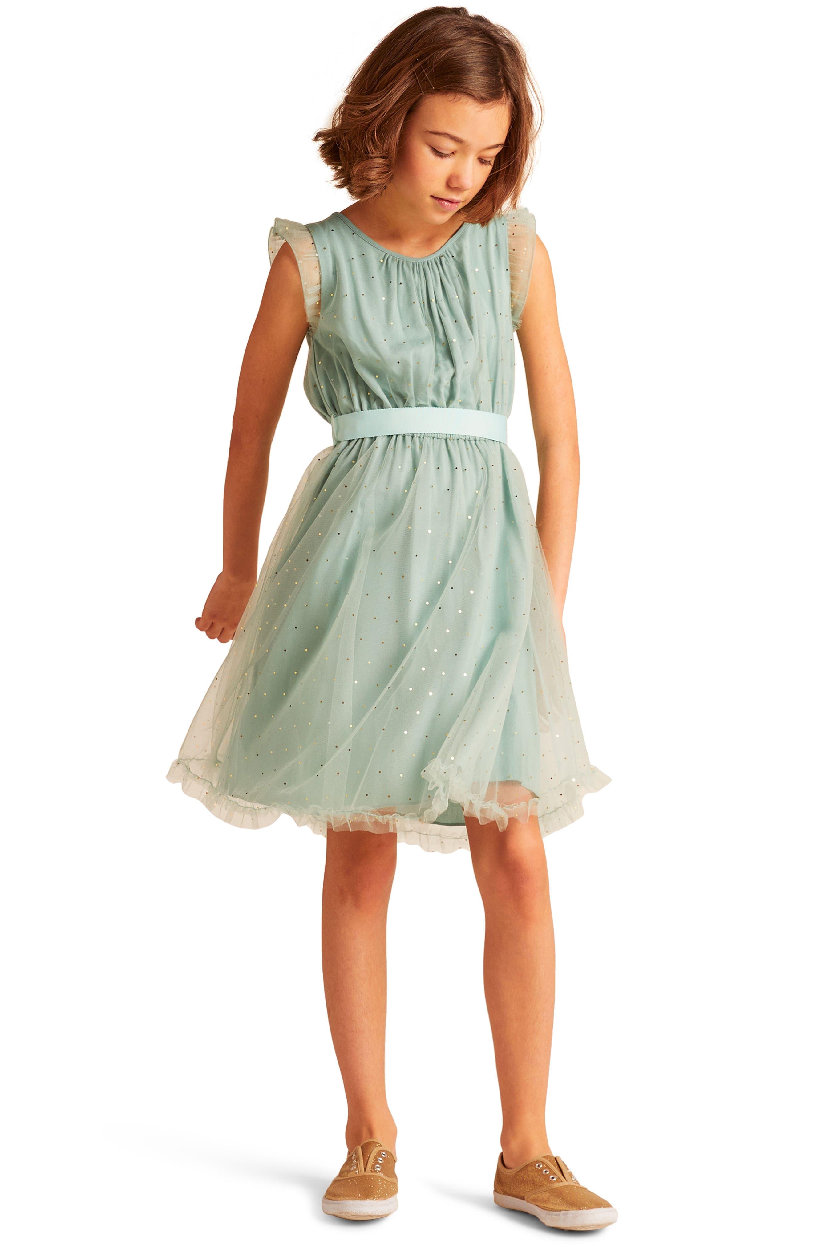Christina Dot Tulle Fit & Flare Dress,                             Alternate thumbnail 2, color,                             300
