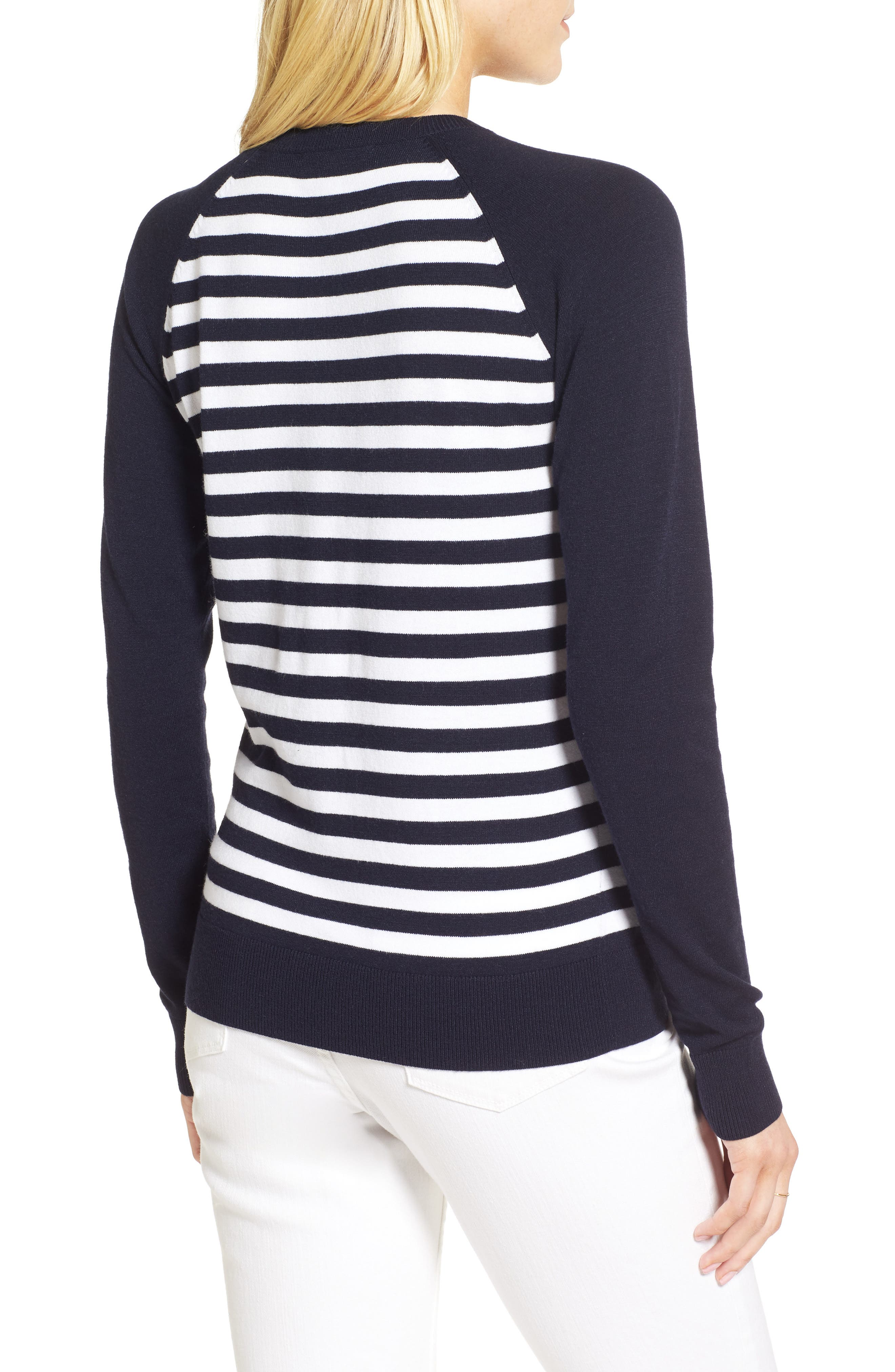 Ruffle Trim Stripe Sweater,                             Alternate thumbnail 5, color,
