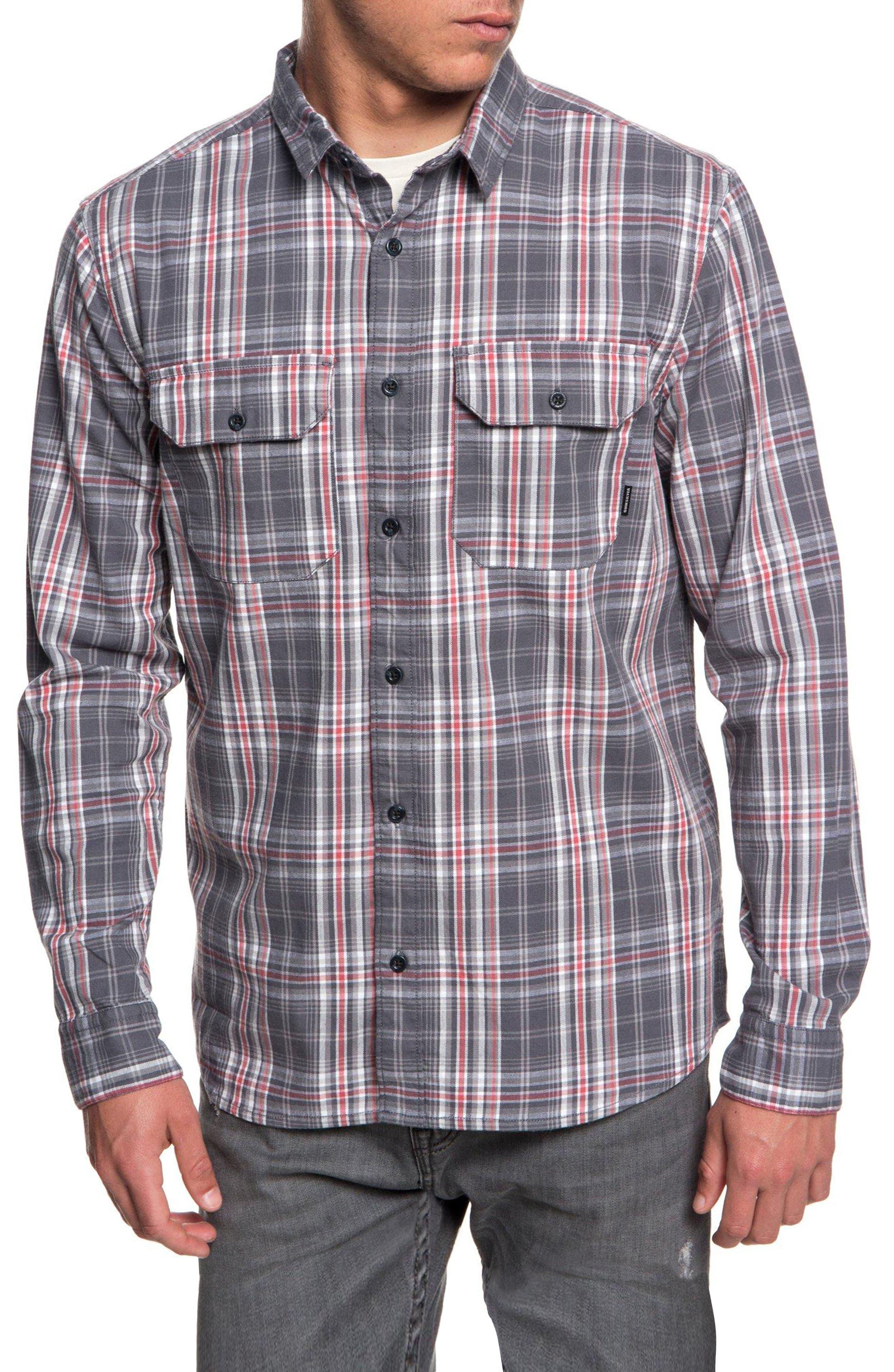 Fitz Sport Shirt,                         Main,                         color, IRON GATE FITZ CHECK