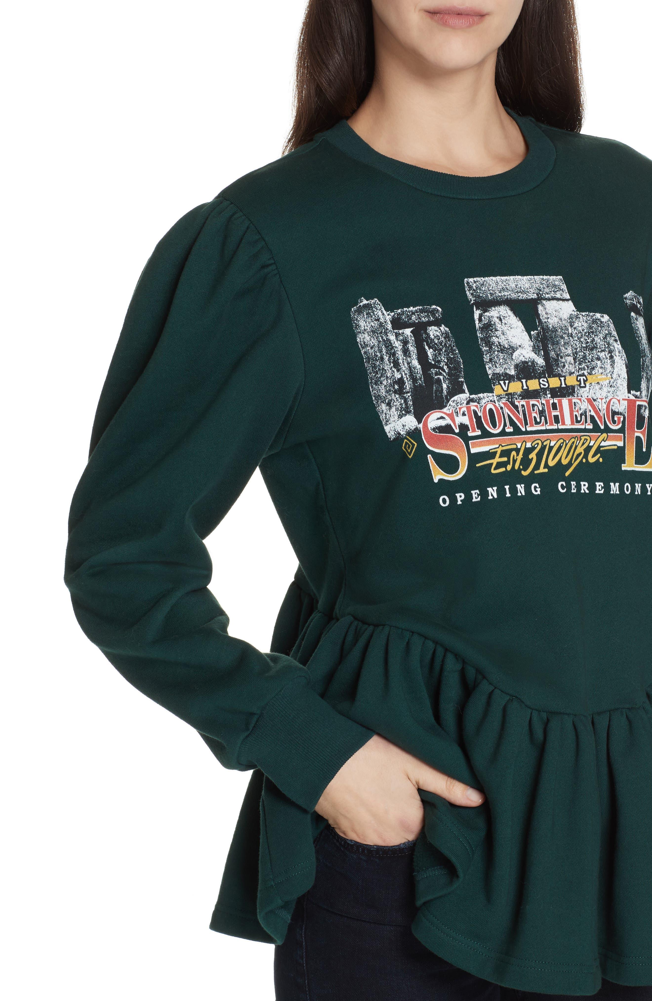 Stonehenge Graphic Peplum Sweatshirt,                             Alternate thumbnail 4, color,                             SALEM