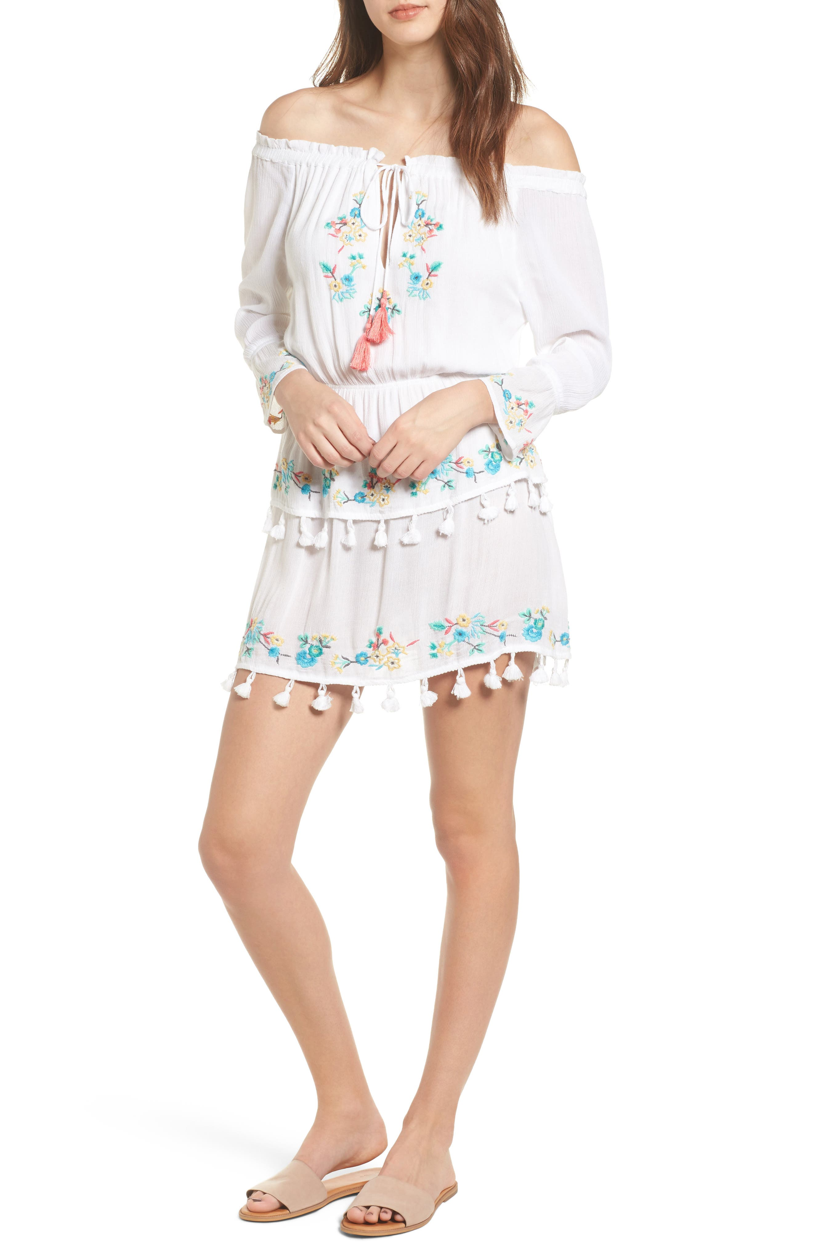 Ashlyn Embroidered Off the Shoulder Minidress,                             Main thumbnail 1, color,