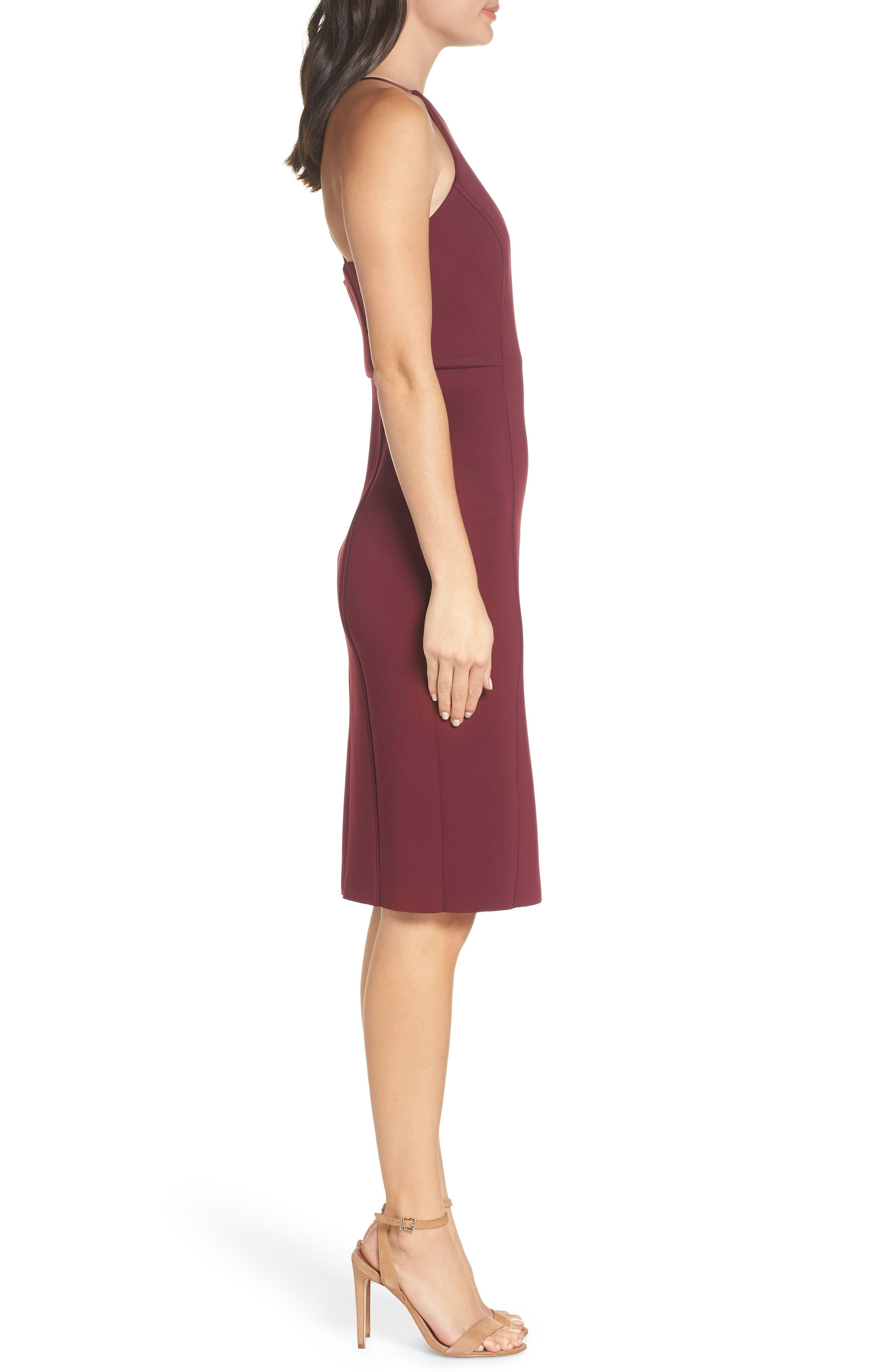 CHELSEA28,                             Scuba Sheath Dress,                             Alternate thumbnail 3, color,                             BURGUNDY
