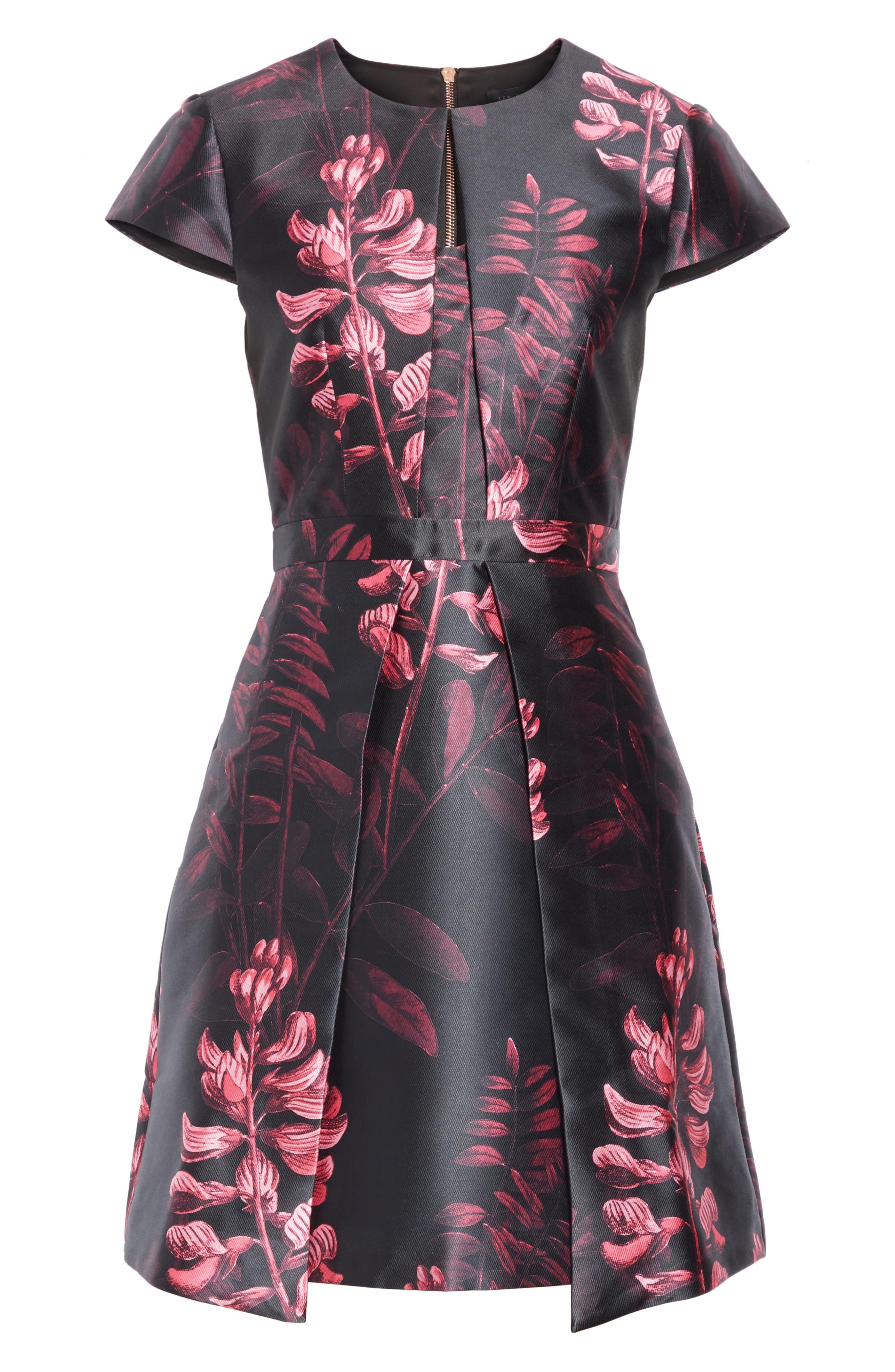 Jebby Splendor Jacquard Fit & Flare Dress,                             Alternate thumbnail 6, color,                             001