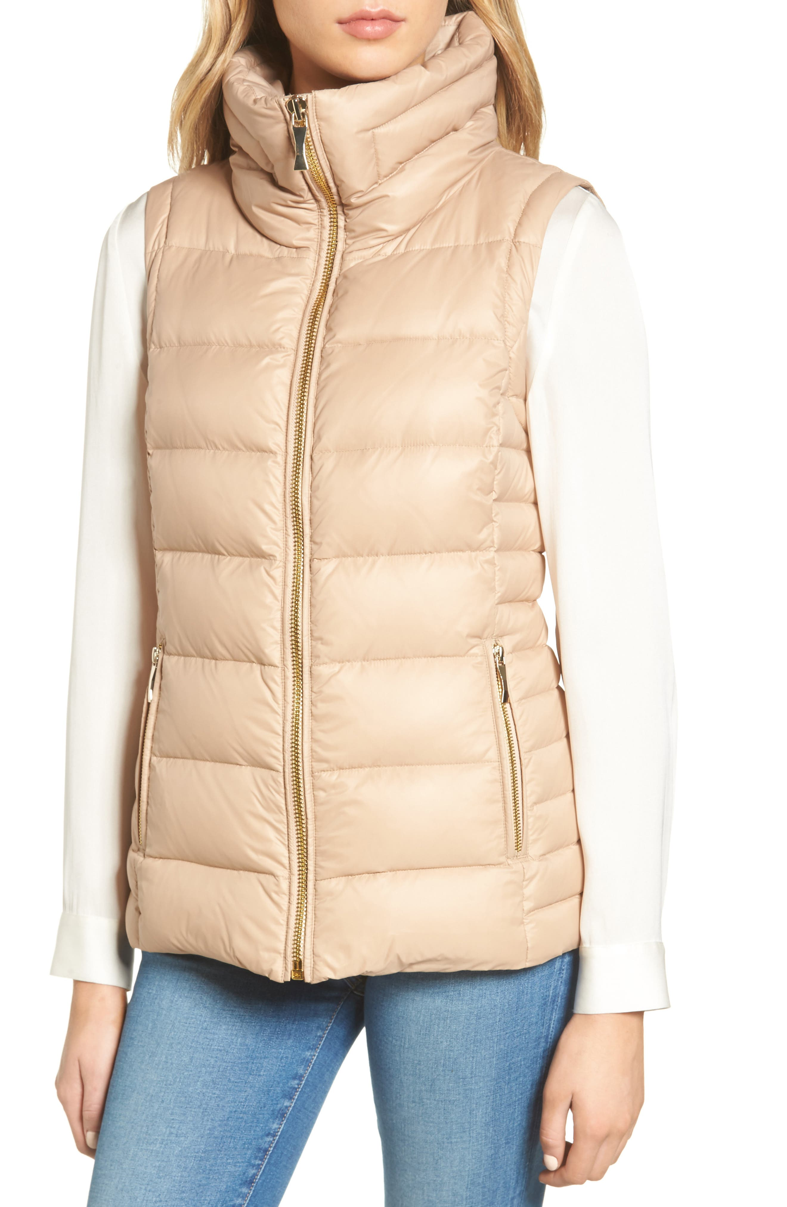 quilted puffer down vest with faux fur trim,                             Alternate thumbnail 10, color,
