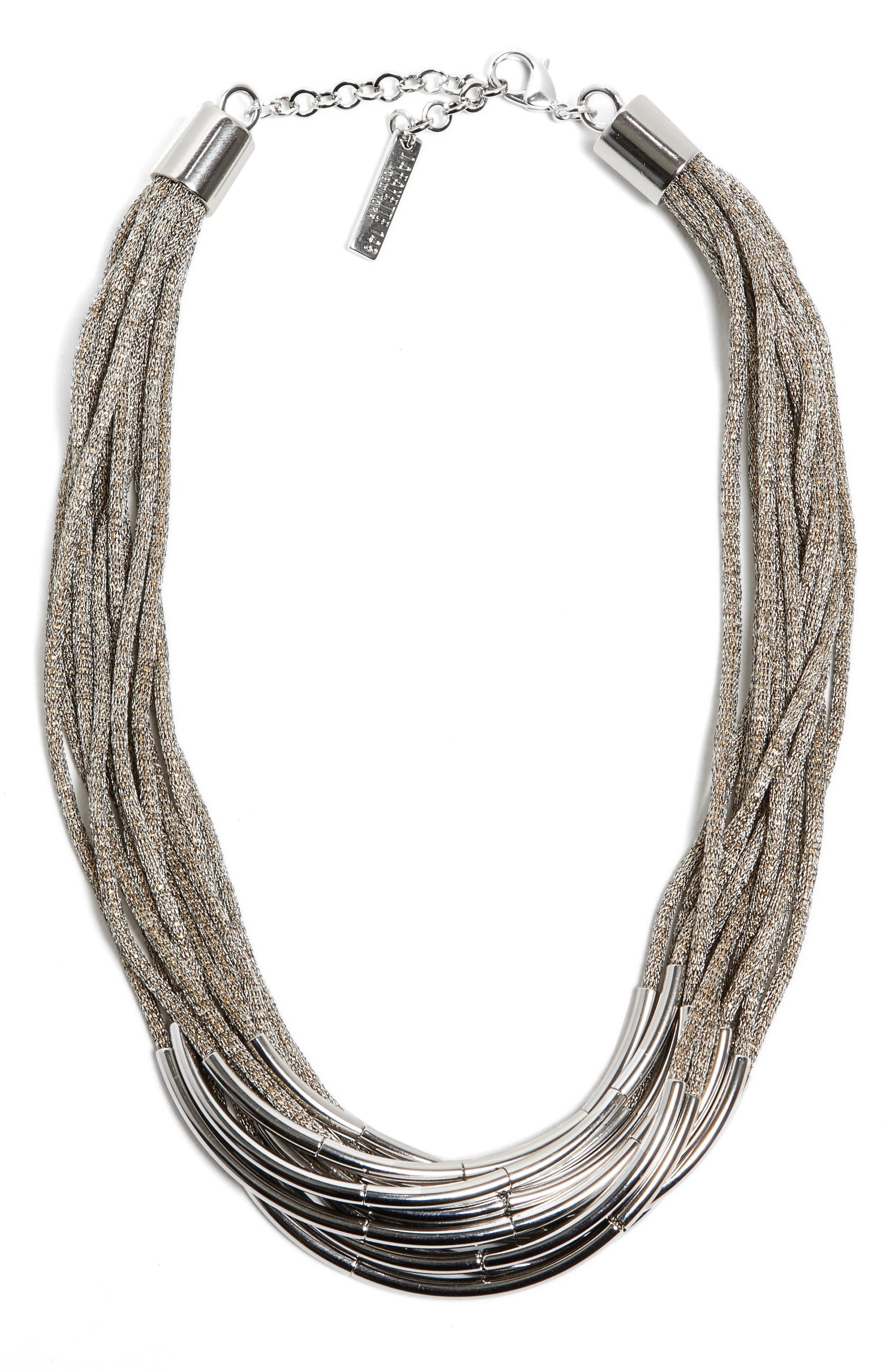 Multistrand Statement Necklace,                         Main,                         color, CEMENT
