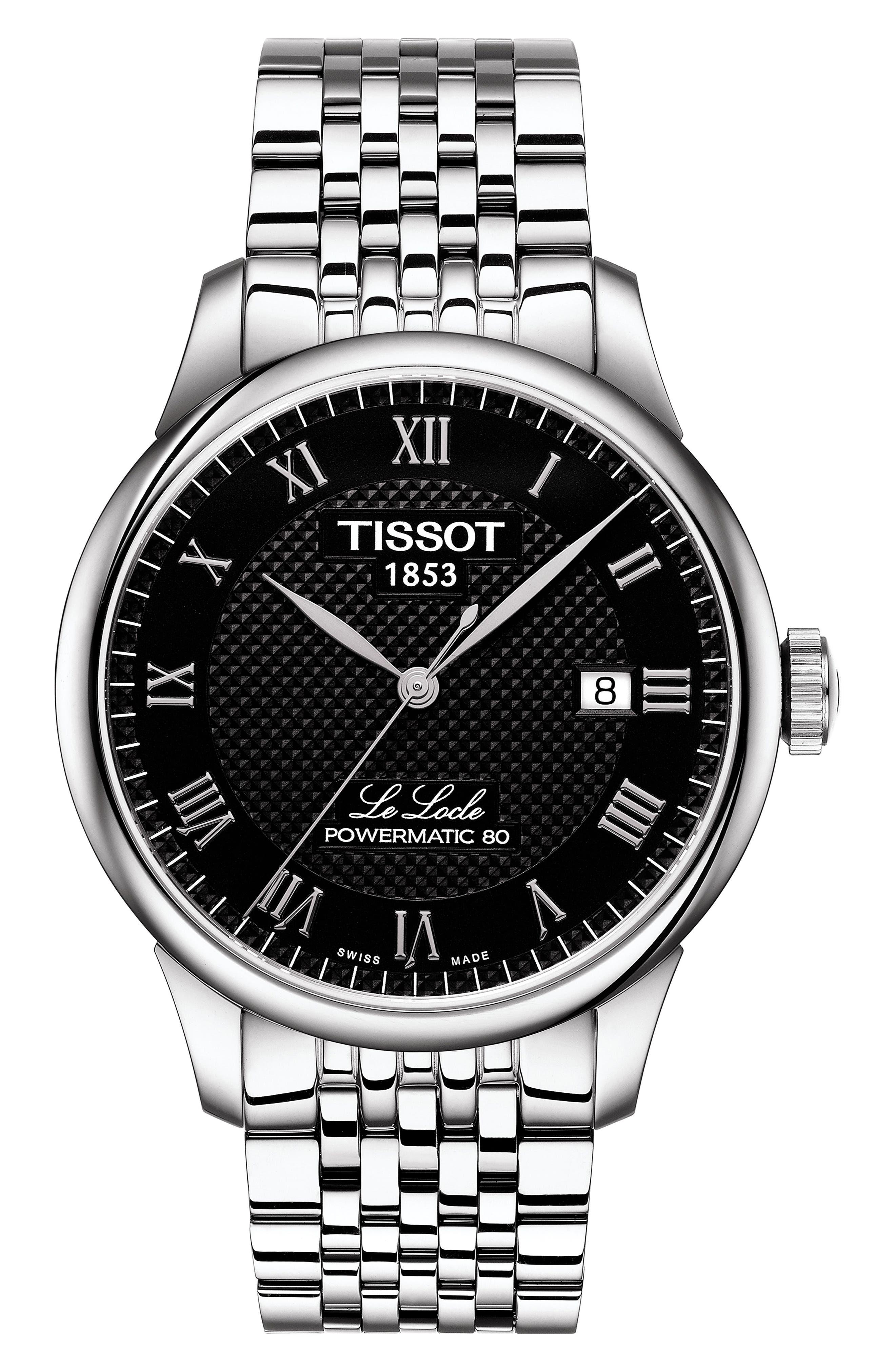 Le Locle Bracelet Watch, 39mm, Main, color, SILVER/ BLACK/ SILVER