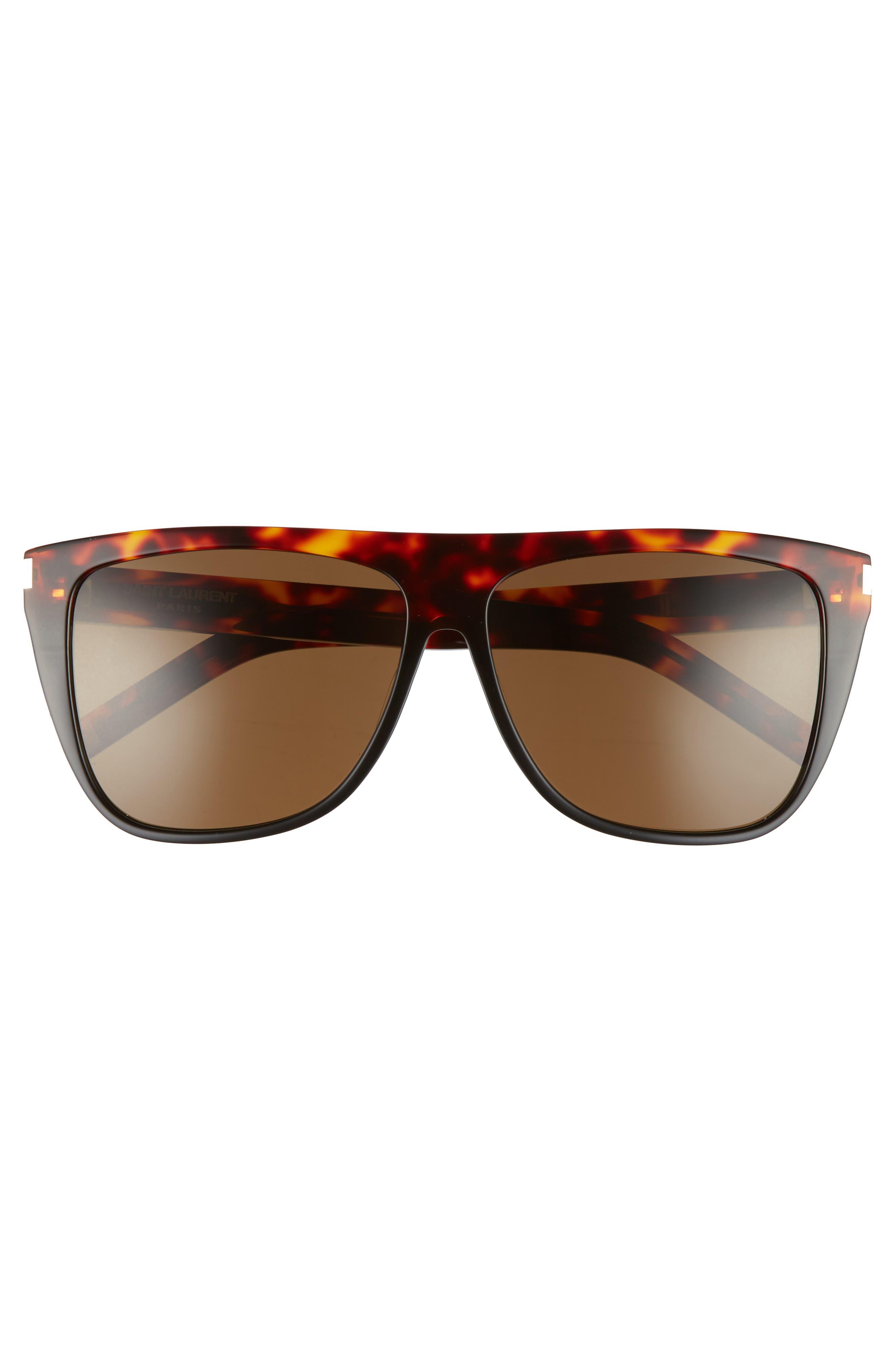 SL1 59mm Flat Top Sunglasses,                             Alternate thumbnail 3, color,                             HAVANA
