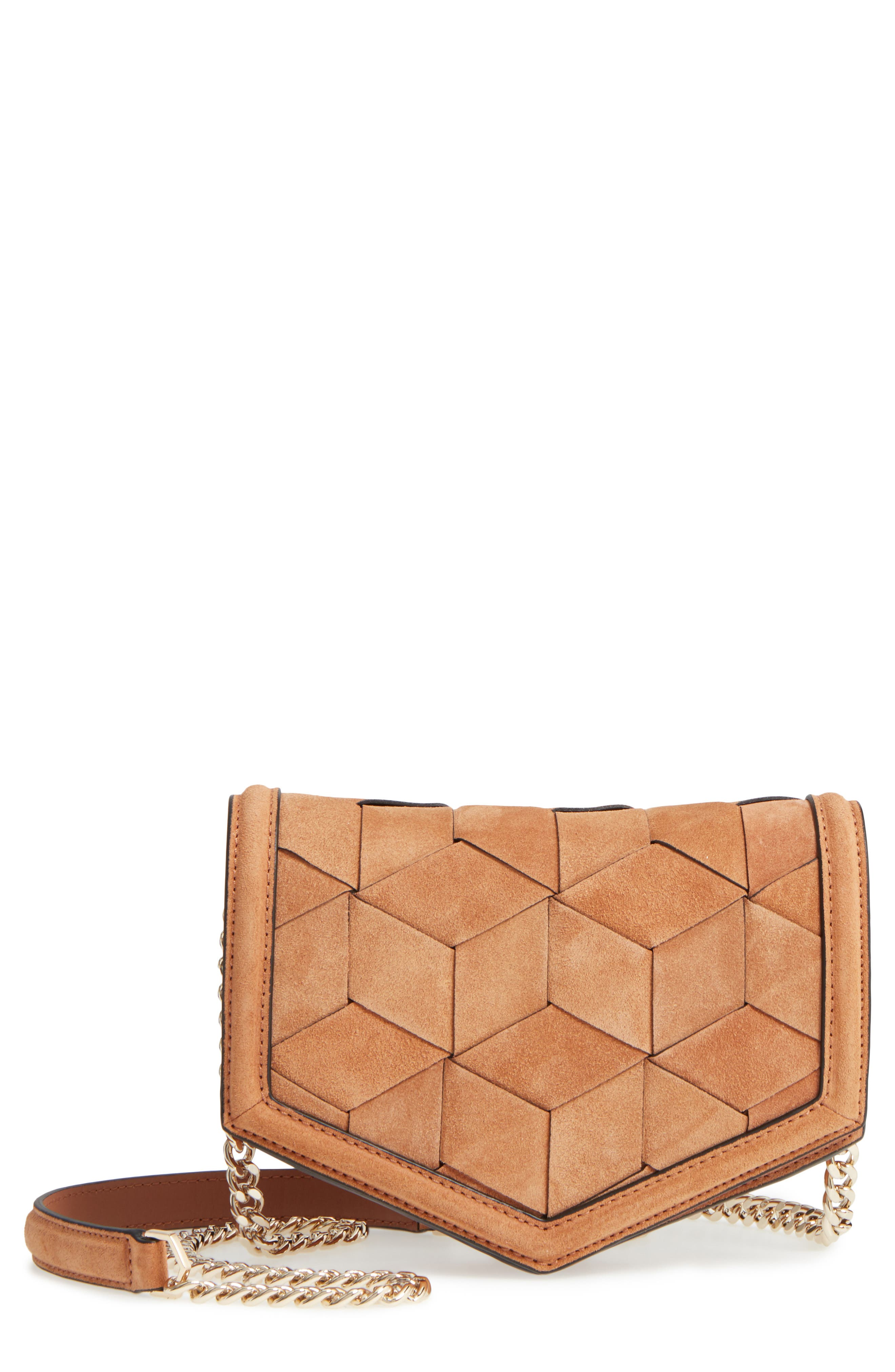Jaunt Woven Calfskin Suede Wallet on a Chain,                         Main,                         color, 200