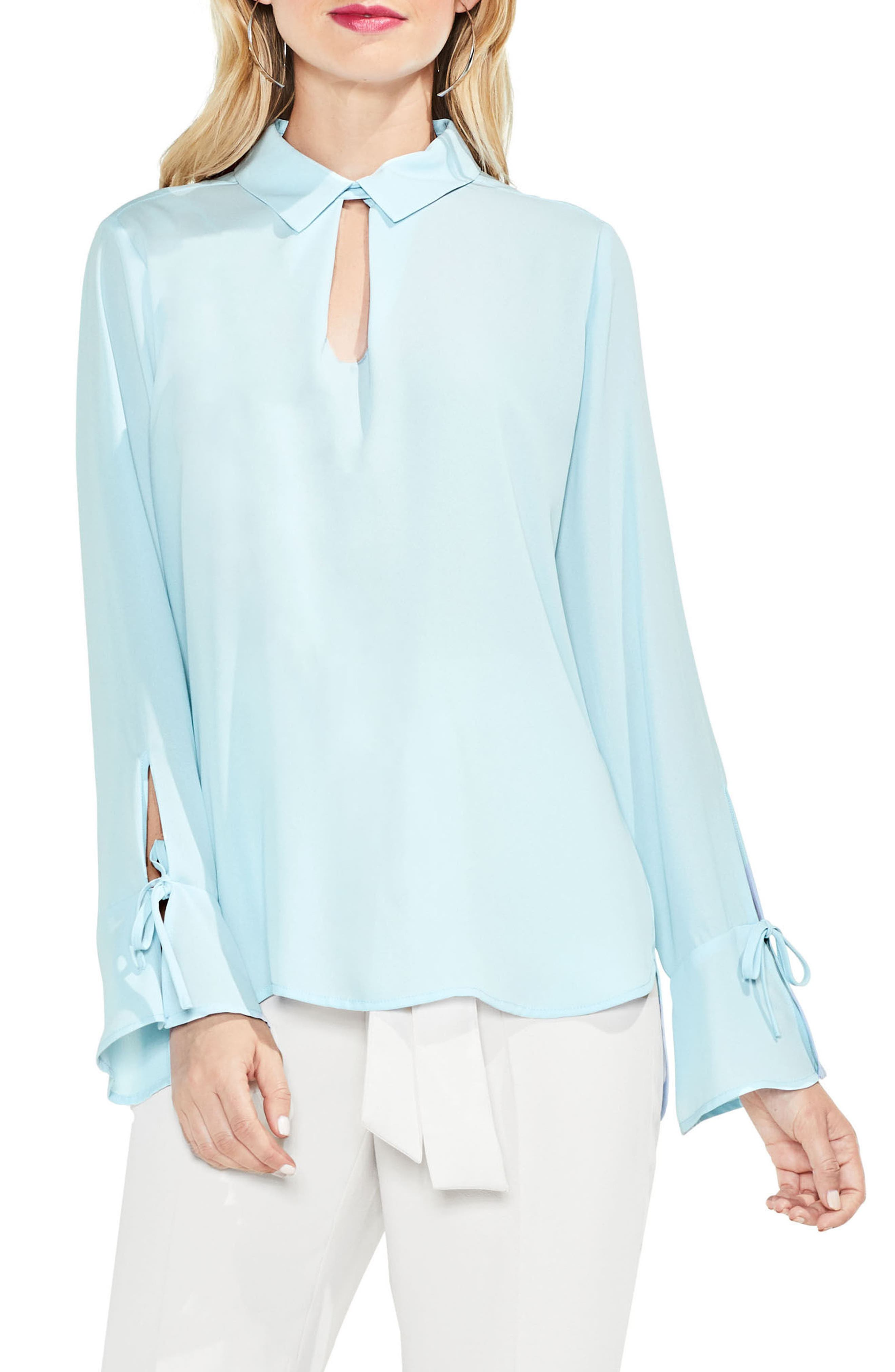 Flare Cuff Keyhole Blouse,                             Main thumbnail 2, color,