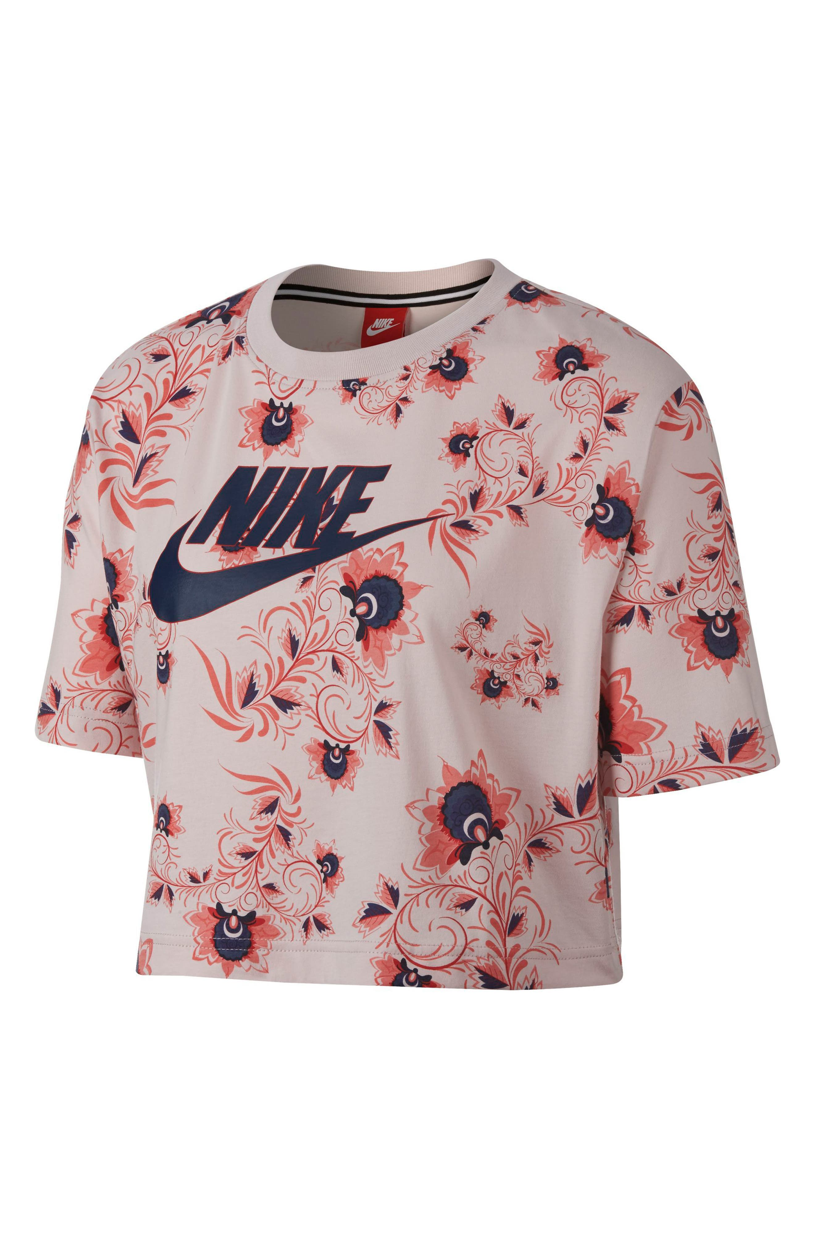 Sportswear Russian Floral Print Crop Tee,                             Alternate thumbnail 8, color,