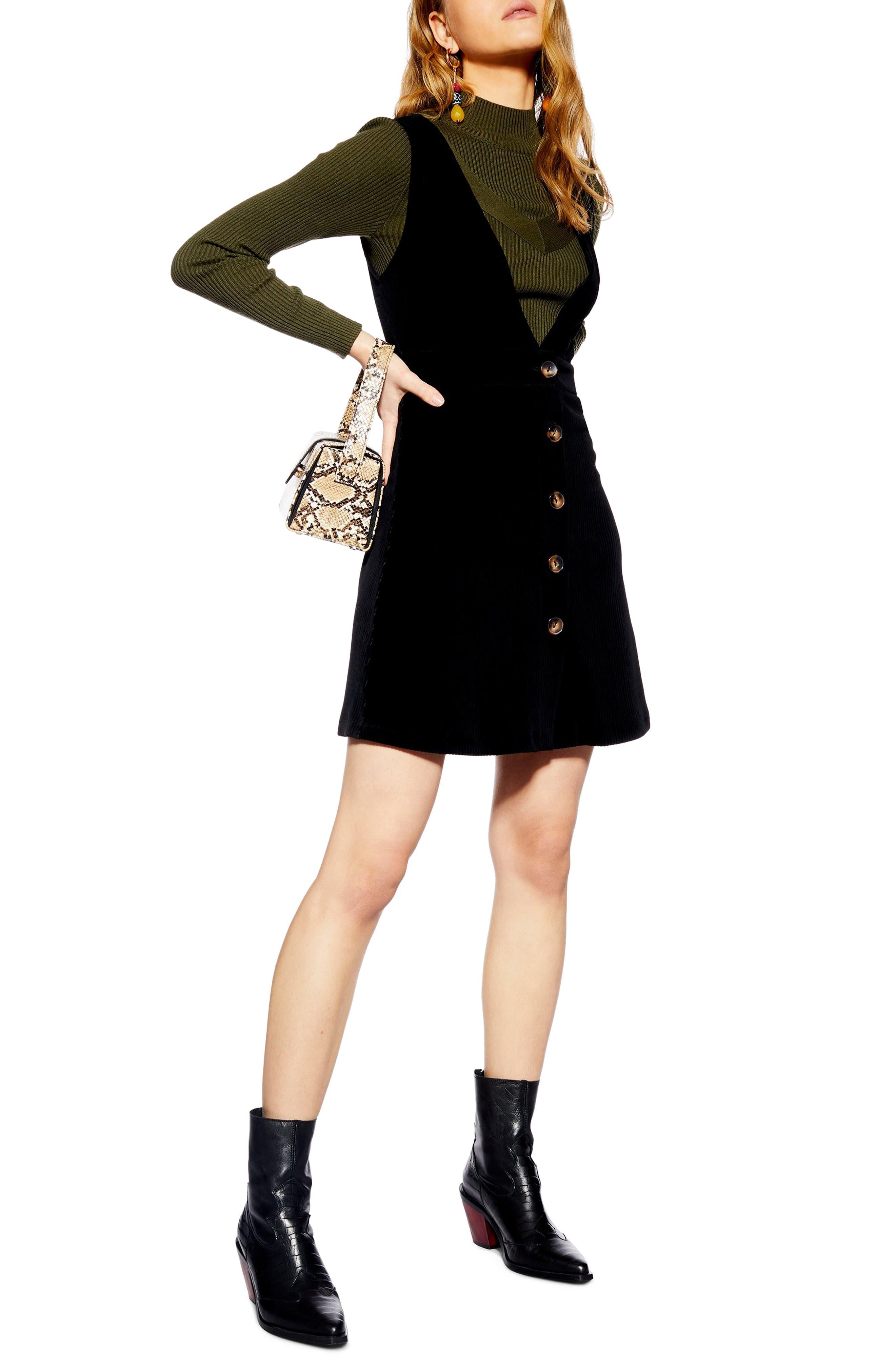 Topshop Corduroy Pinafore Dress, US (fits like 6-8) - Black