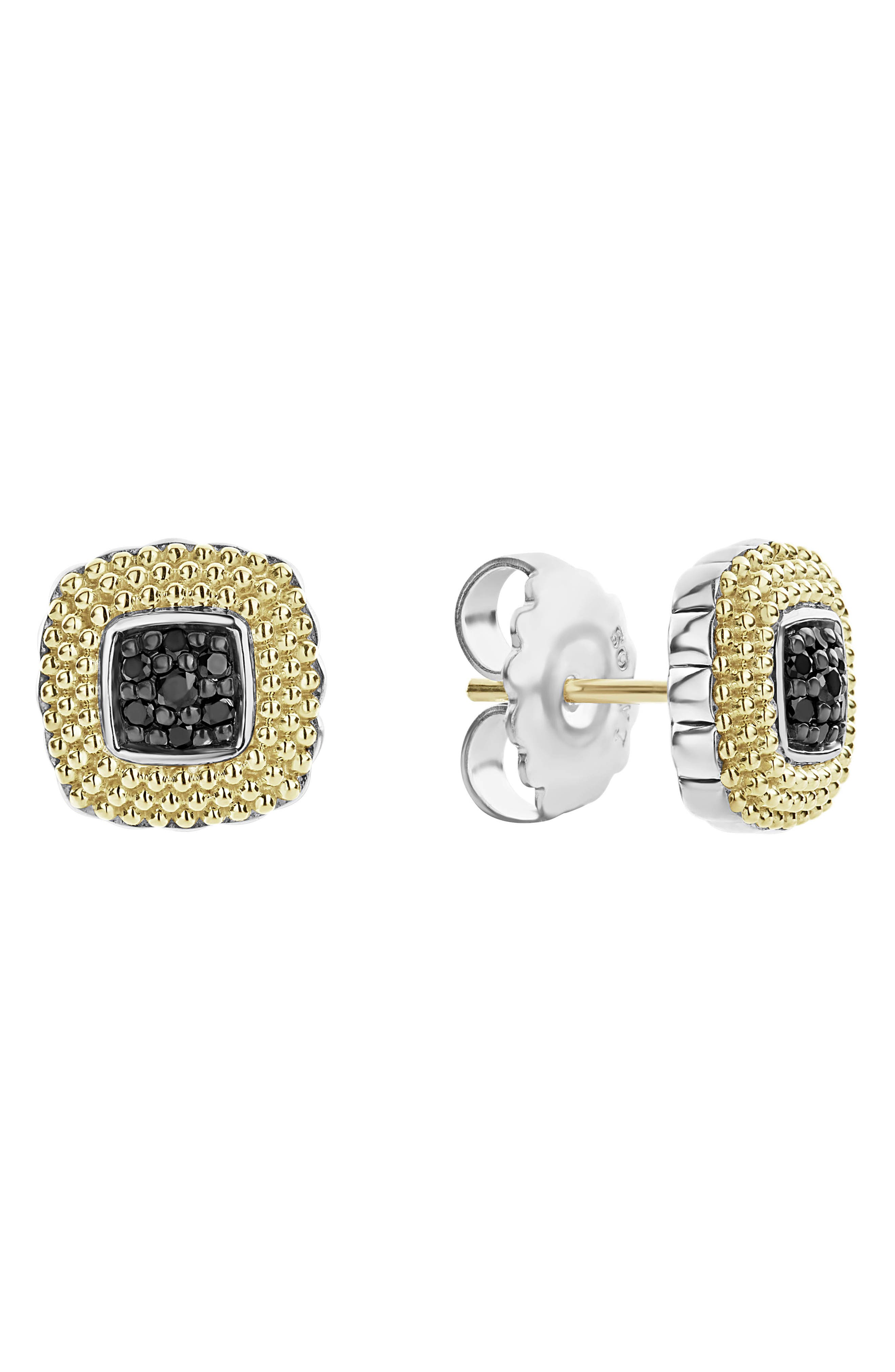 Diamond Lux Black Diamond Square Stud Earrings,                             Alternate thumbnail 3, color,                             SILVER/ GOLD/ BLACK DIAMOND