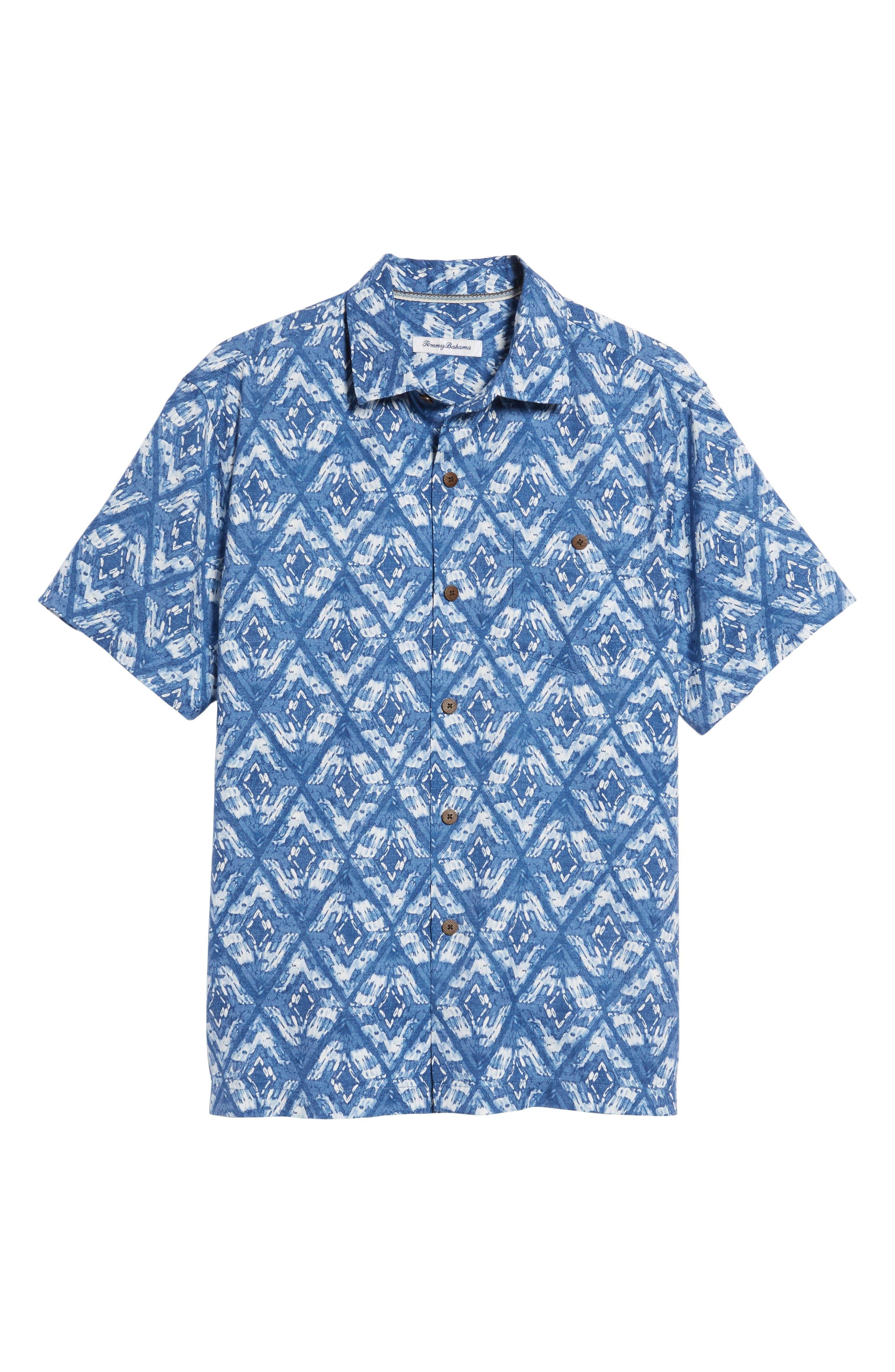 Deep Water Diamond Camp Shirt,                             Alternate thumbnail 6, color,