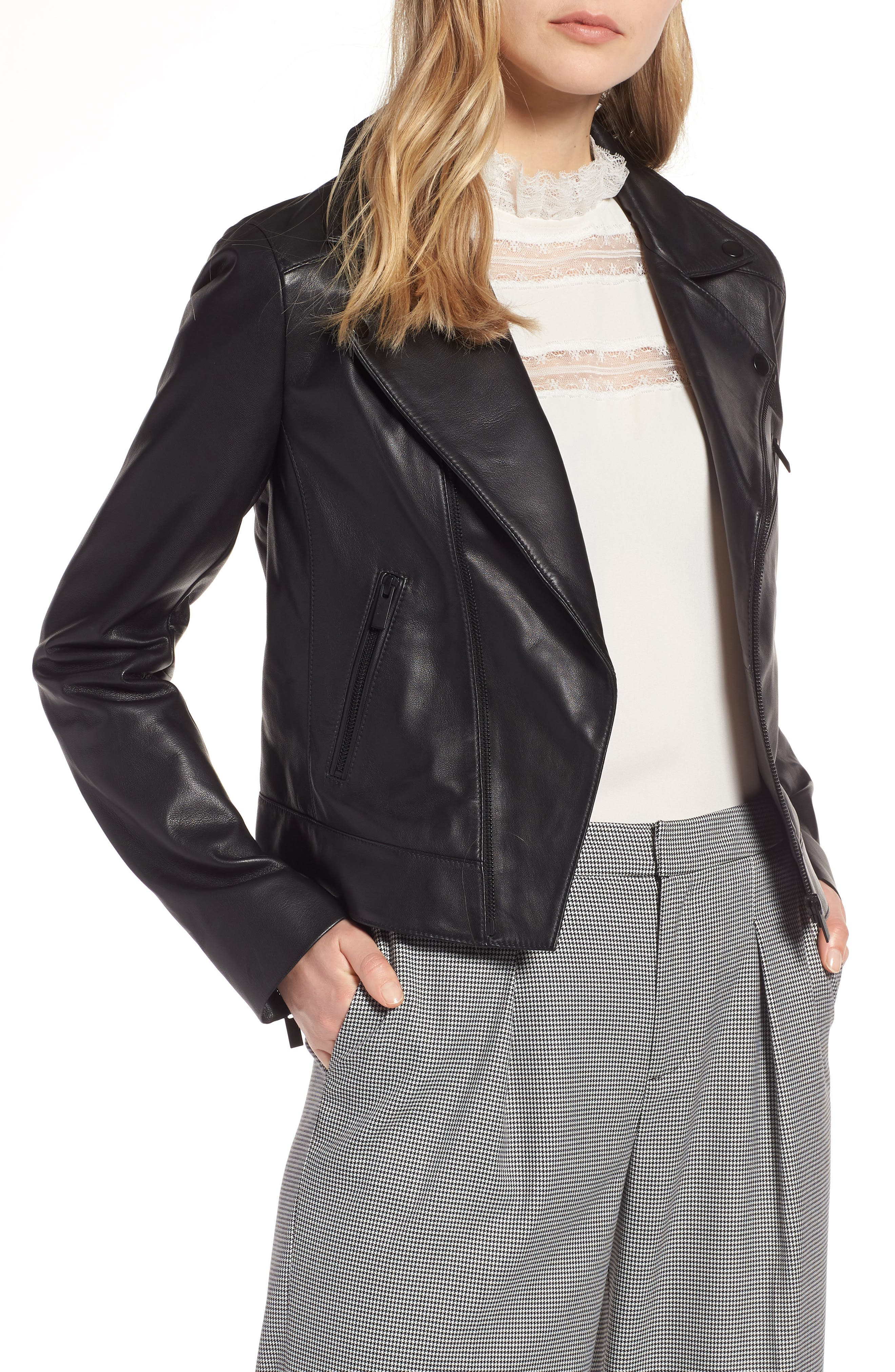 Leather Moto Jacket, Main, color, 001