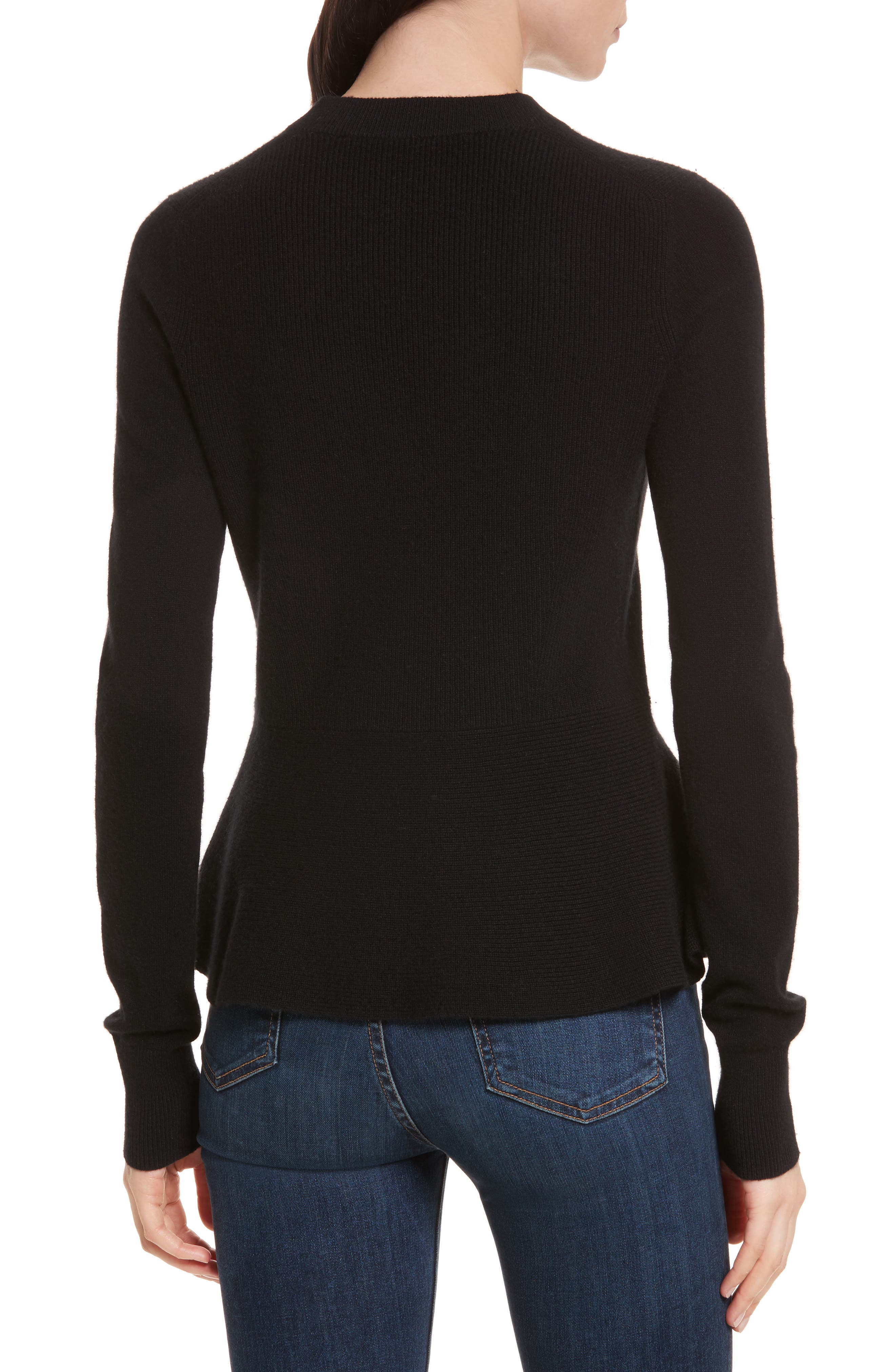 Raleigh Cashmere Peplum Sweater,                             Alternate thumbnail 4, color,