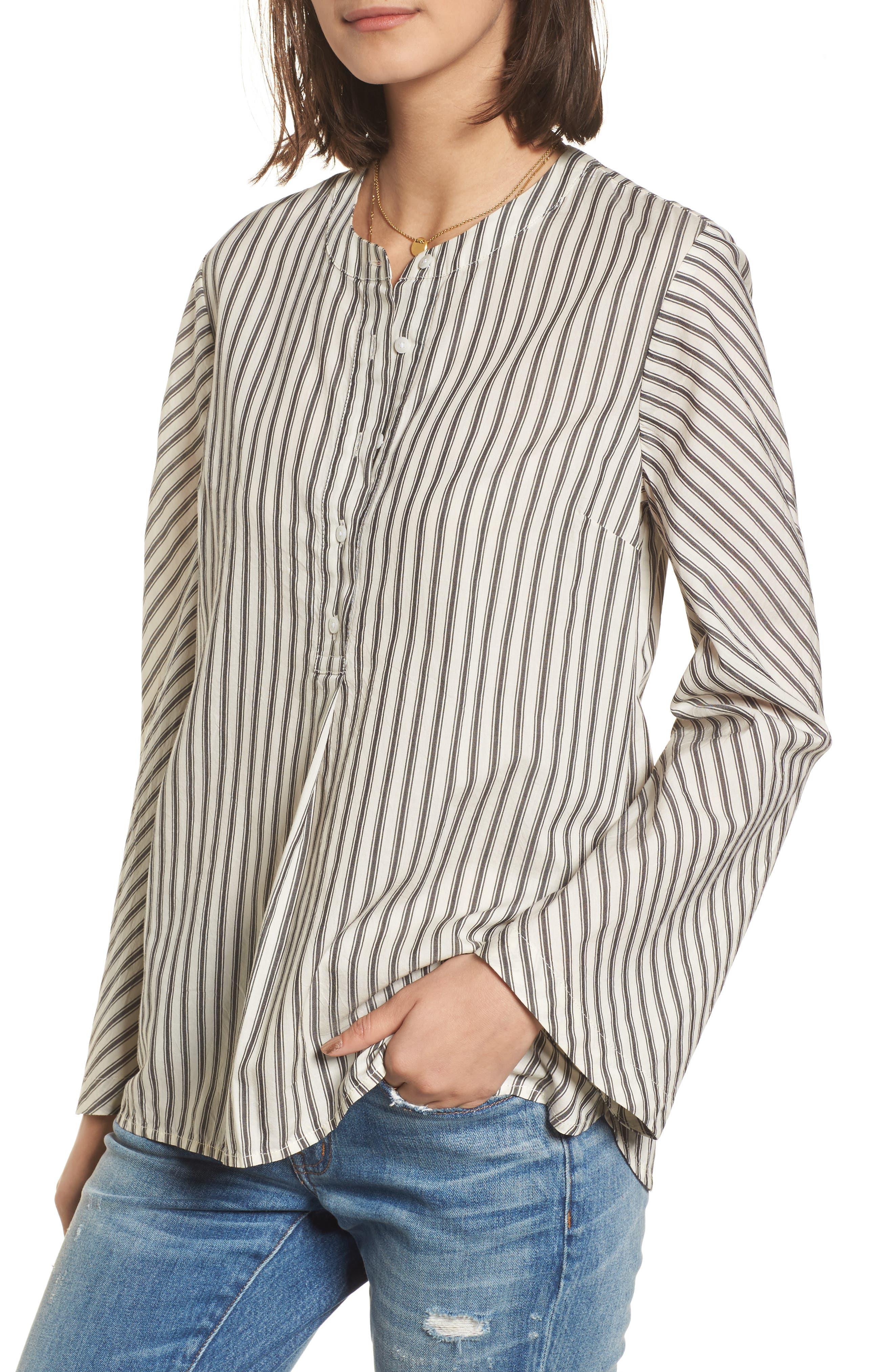Stripe Flare Sleeve Shirt,                             Main thumbnail 1, color,                             190