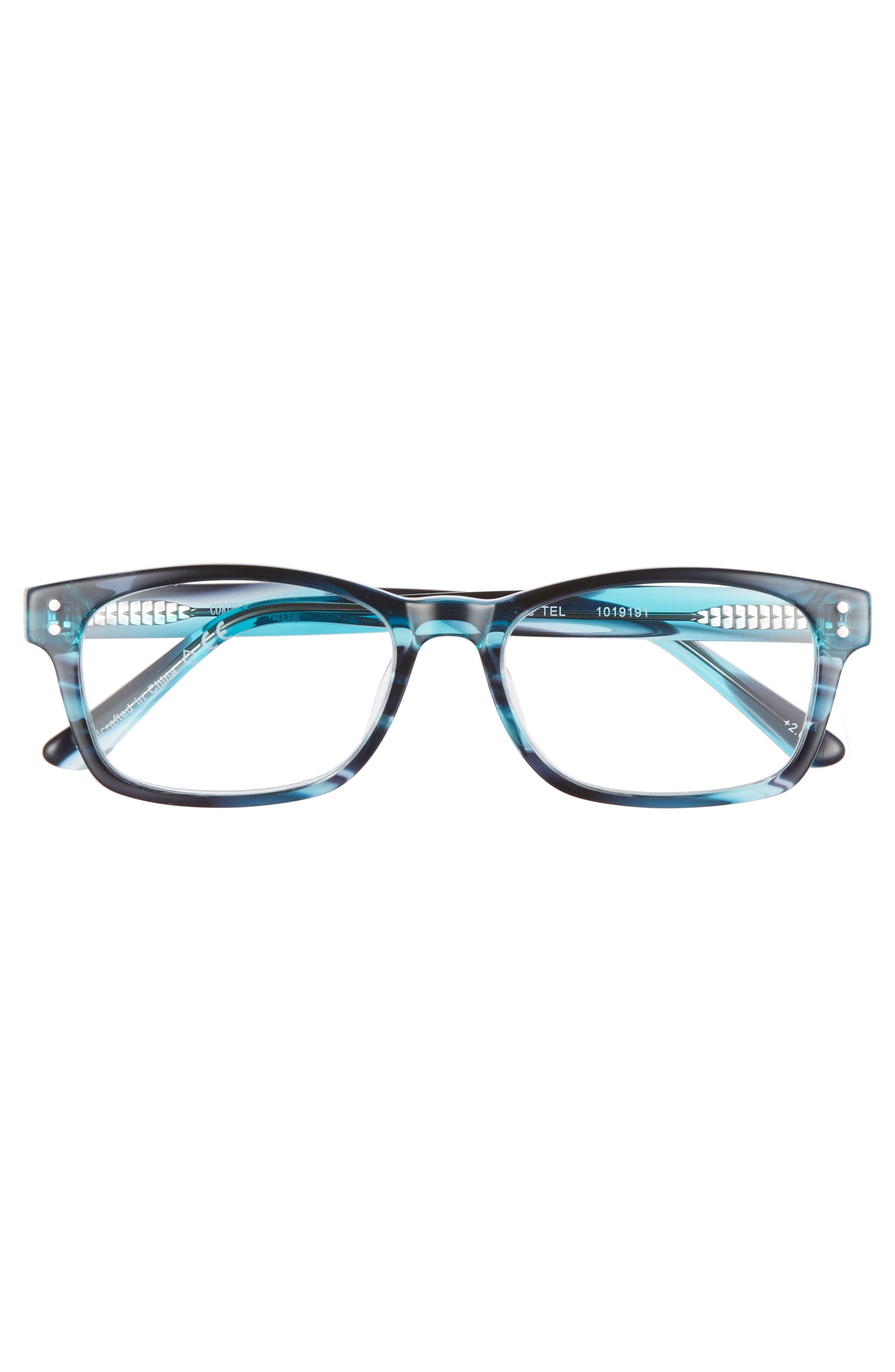 Edie 52mm Reading Glasses,                             Alternate thumbnail 3, color,                             TEAL BLUE