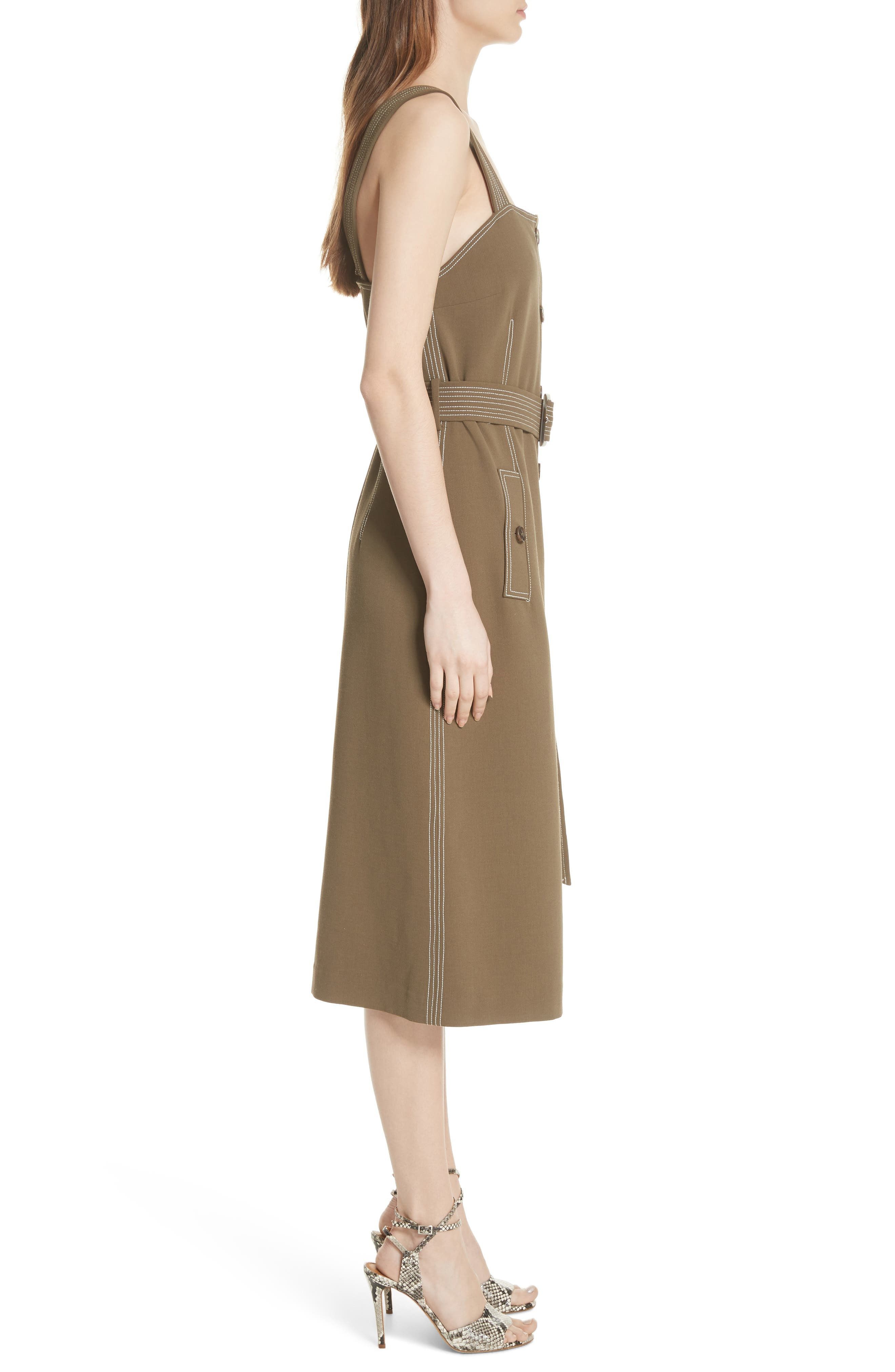 Adora Belted Dress,                             Alternate thumbnail 3, color,                             ARMY GREEN