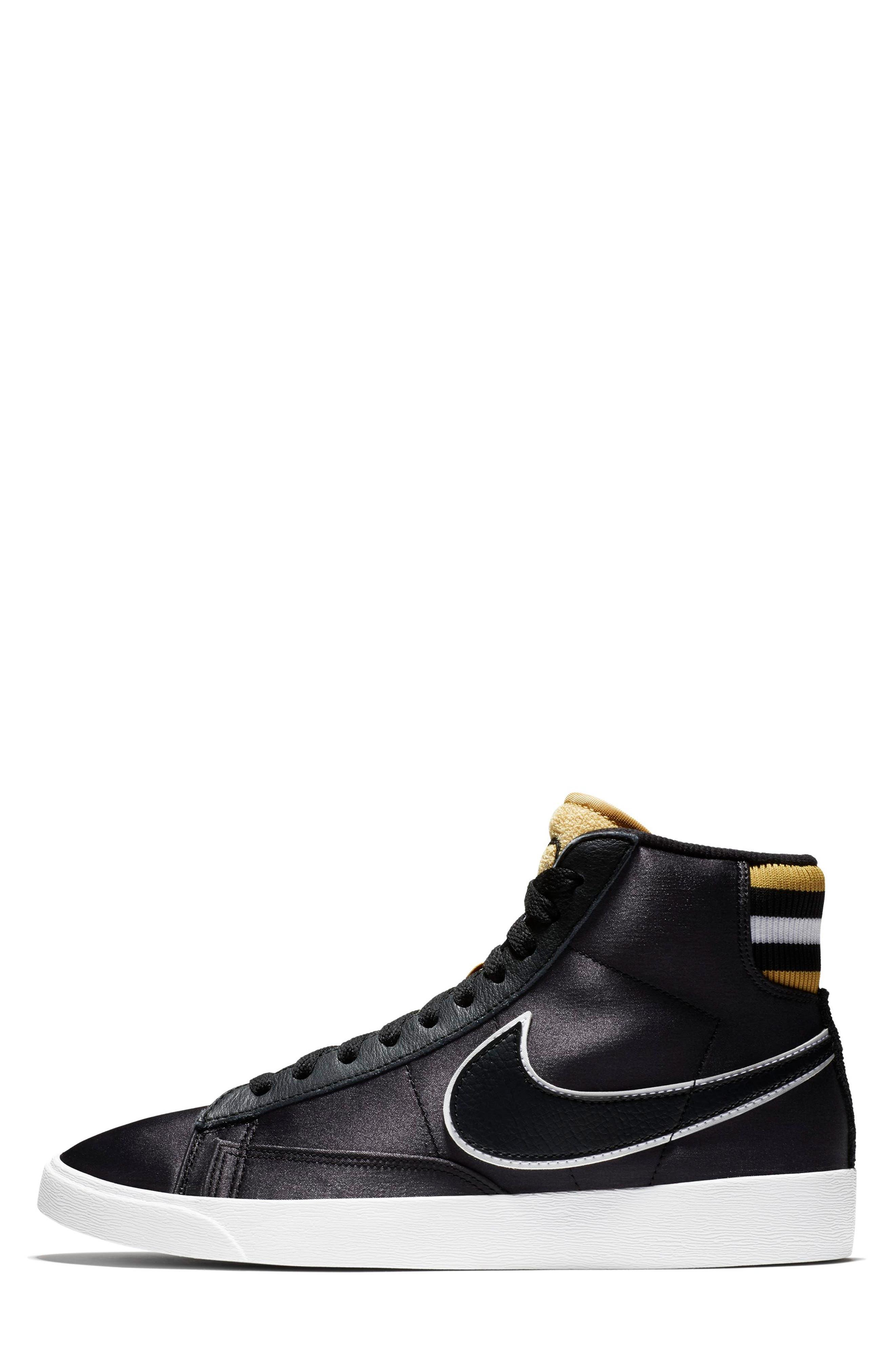 Blazer Mid Top Sneaker,                             Alternate thumbnail 3, color,                             BLACK/ BLACK