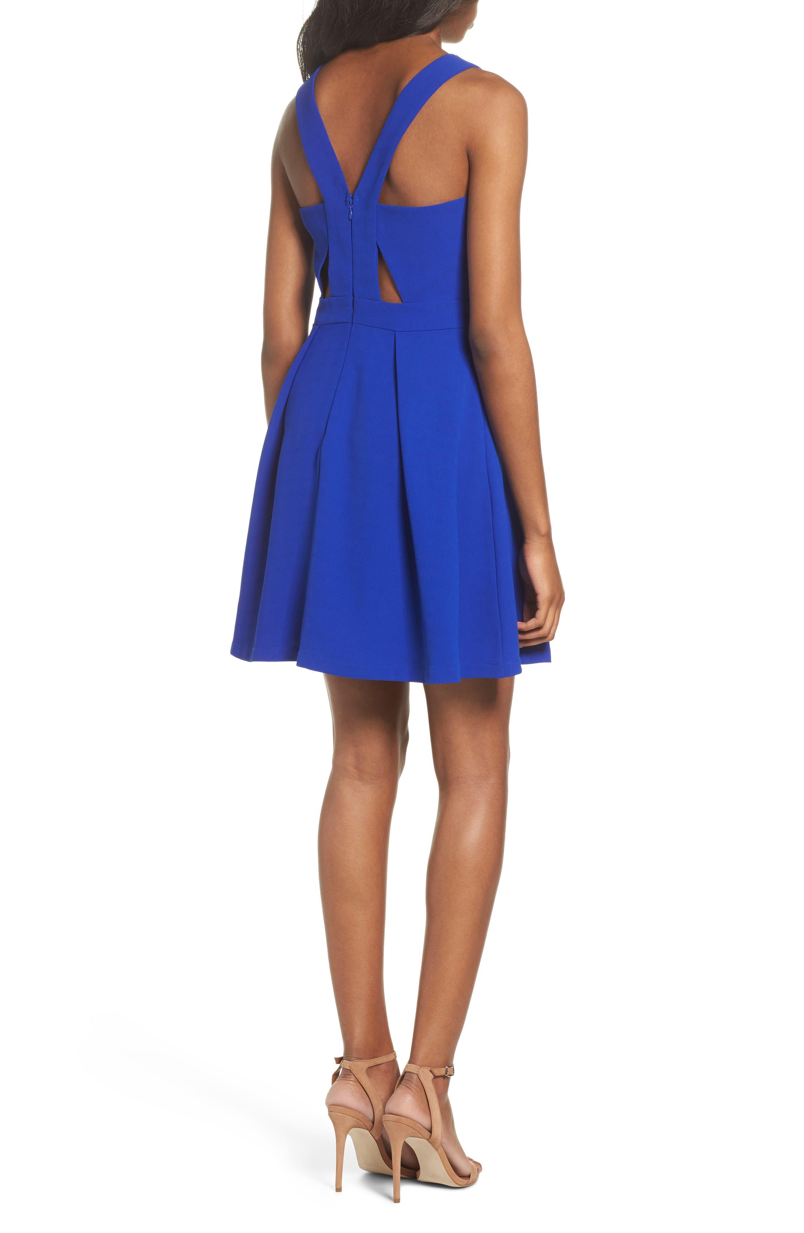 Scalloped Fit & Flare Dress,                             Alternate thumbnail 2, color,                             BLUE