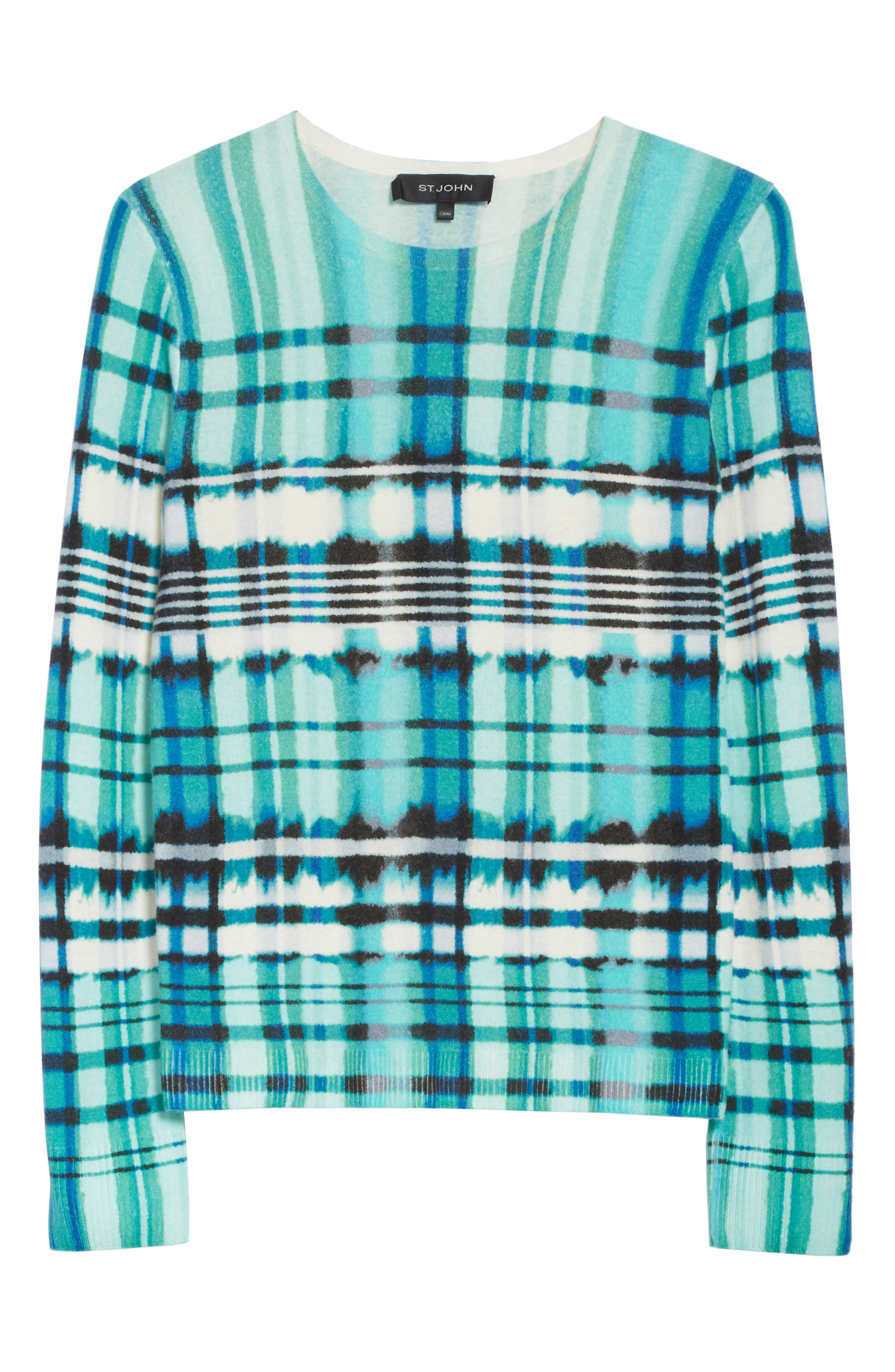 Overprint Plaid Cashmere Sweater,                             Alternate thumbnail 6, color,                             350