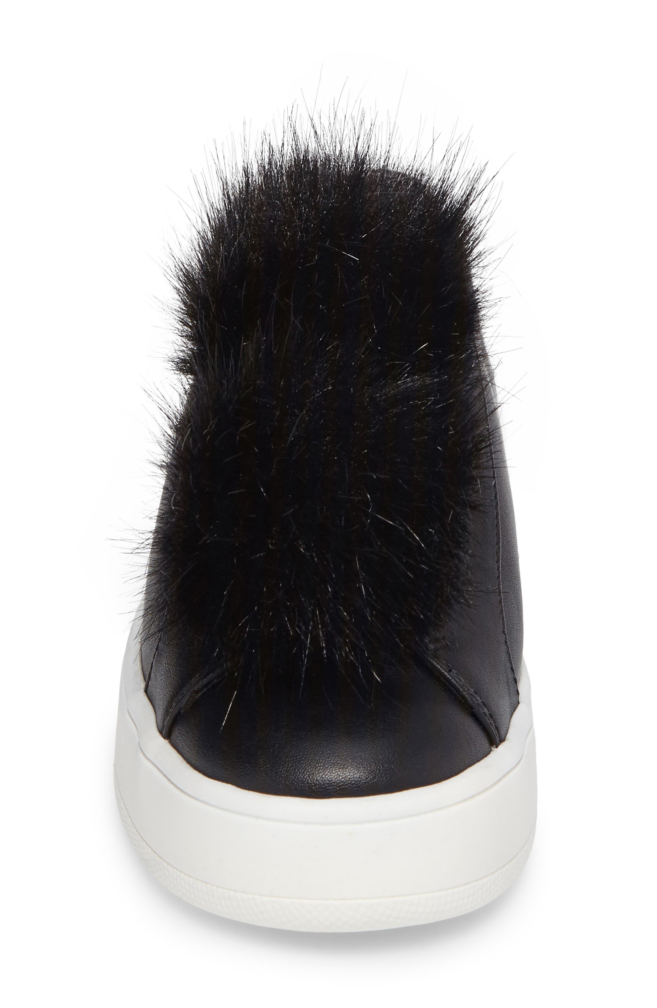 Breeze Faux Fur Pom Sneaker,                             Alternate thumbnail 4, color,                             001