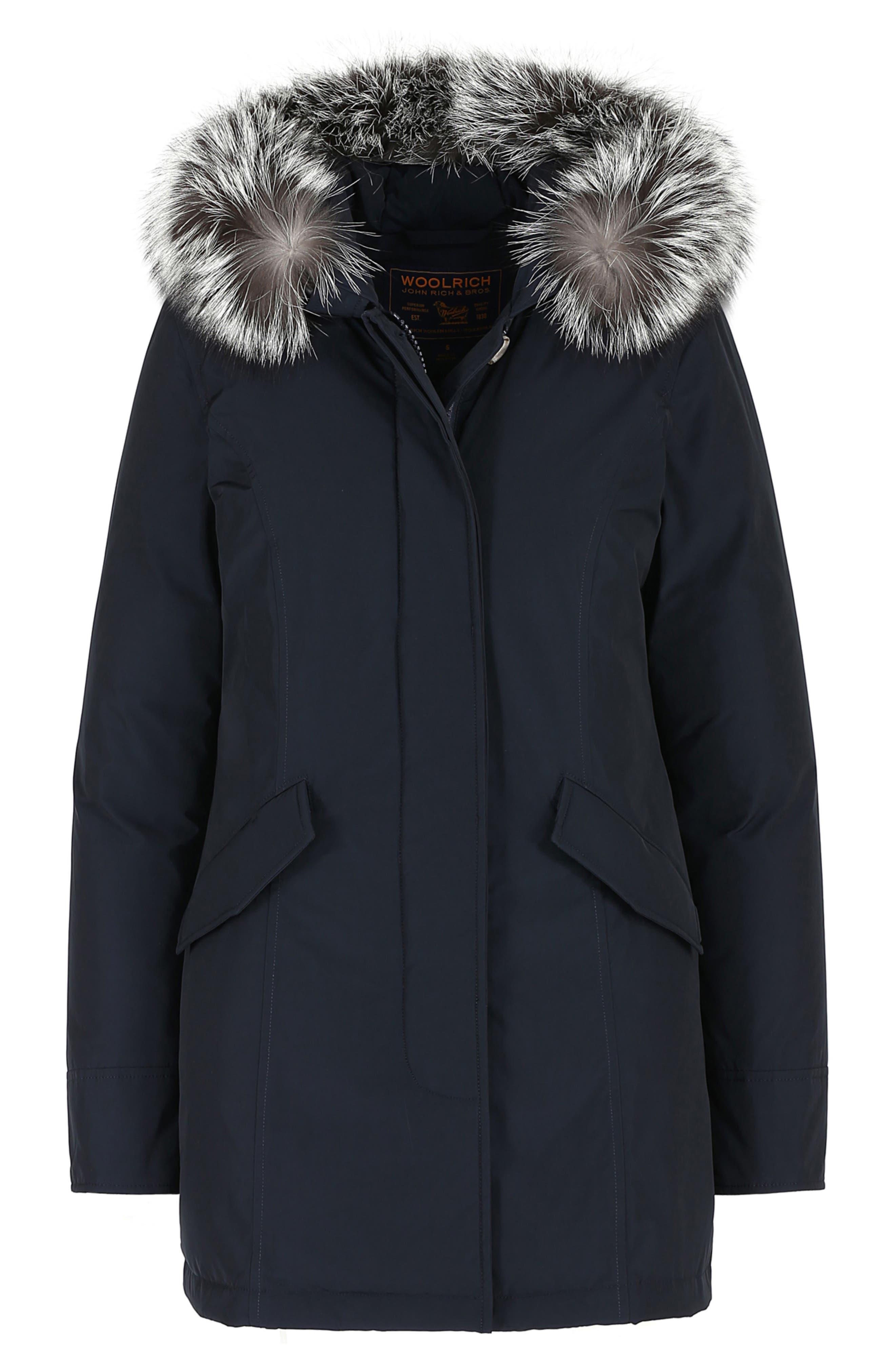 Luxury Arctic Down Parka with Genuine Fox Fur Trim,                             Alternate thumbnail 10, color,                             MIDNIGHT BLUE