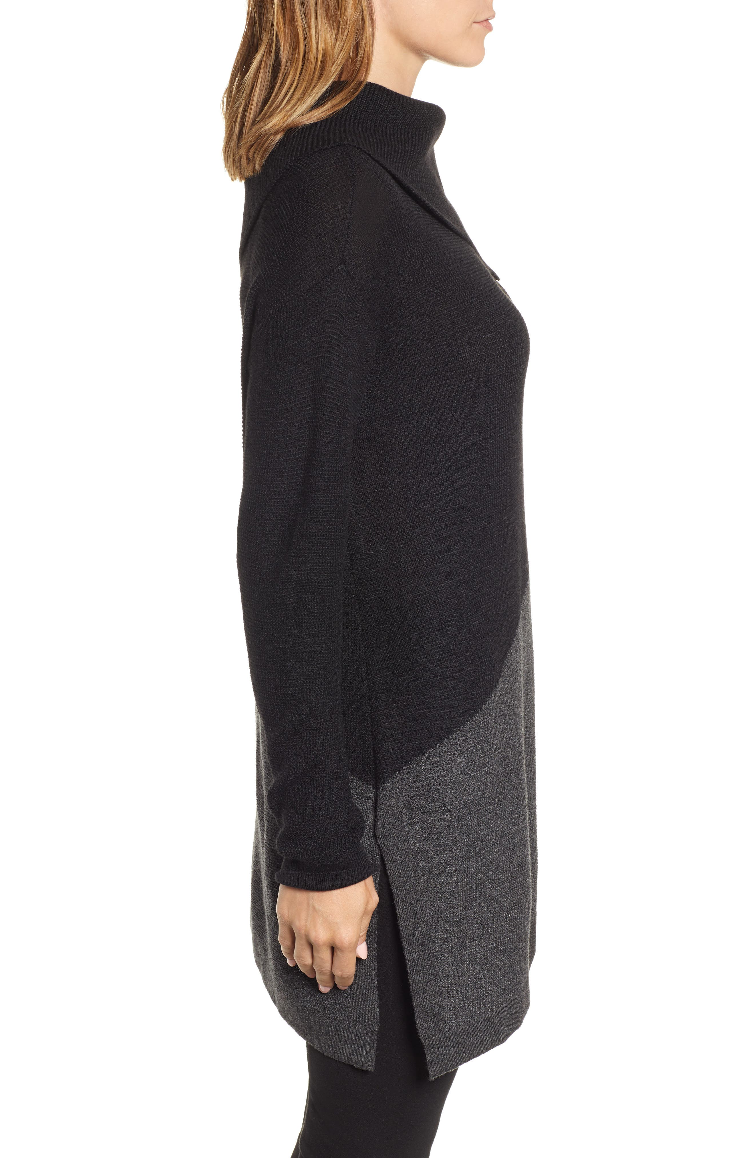 Asymmetrical Colorblock Tunic Sweater,                             Alternate thumbnail 3, color,                             RICH BLACK