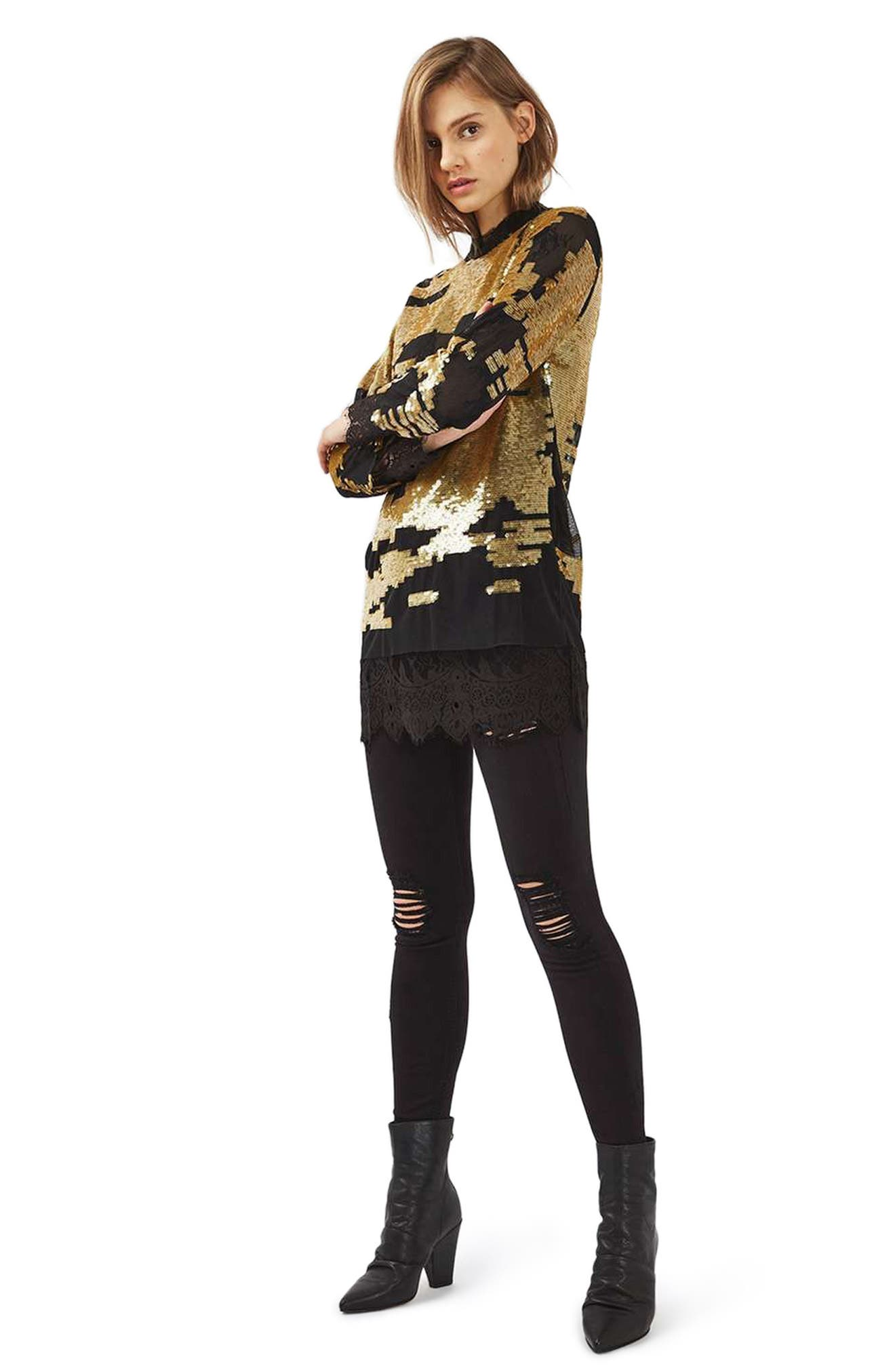 Ripped High Waist Ankle Skinny Jeans,                             Alternate thumbnail 3, color,
