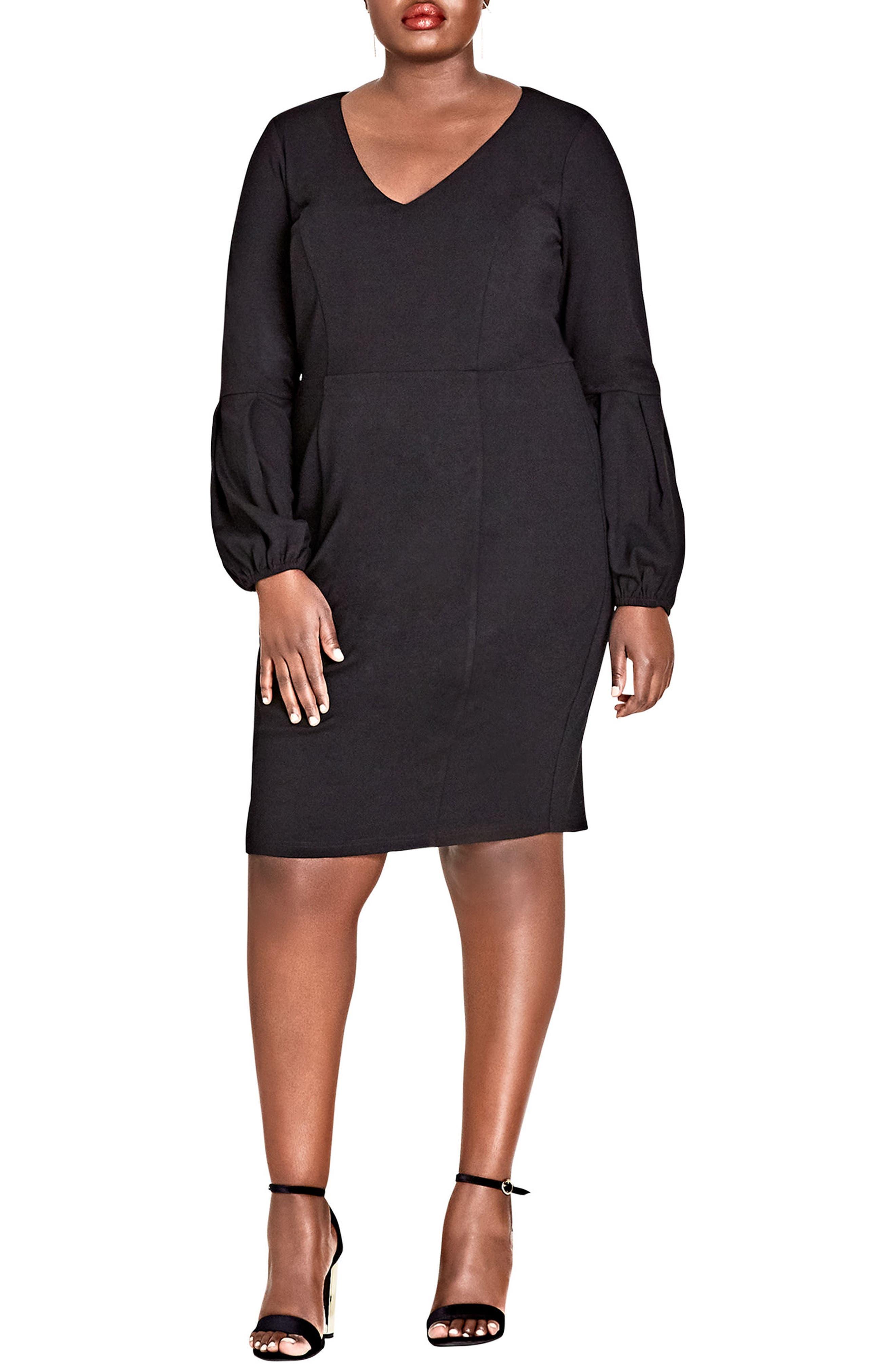Fancy Sleeve Sheath Dress,                             Main thumbnail 1, color,                             BLACK
