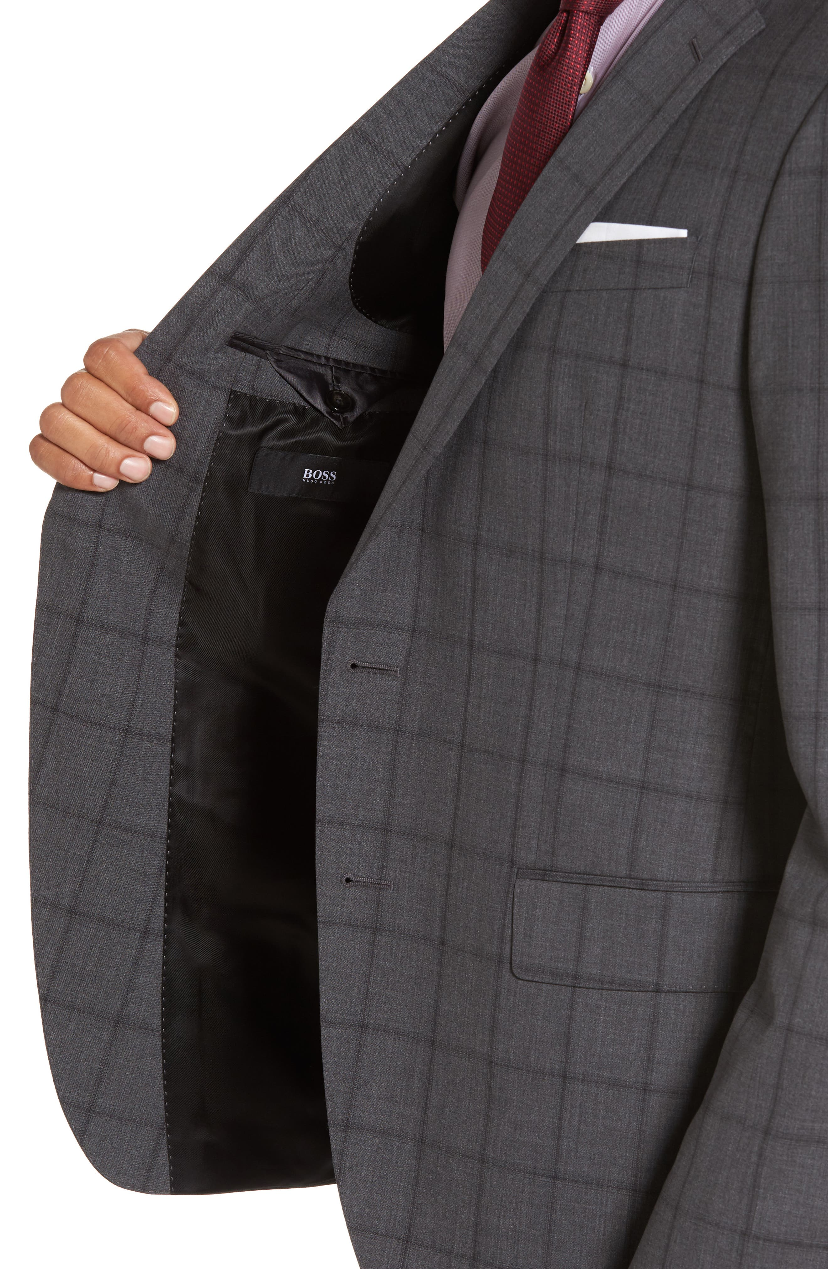 Huge/Genius Trim Fit Check Suit,                             Alternate thumbnail 4, color,                             061