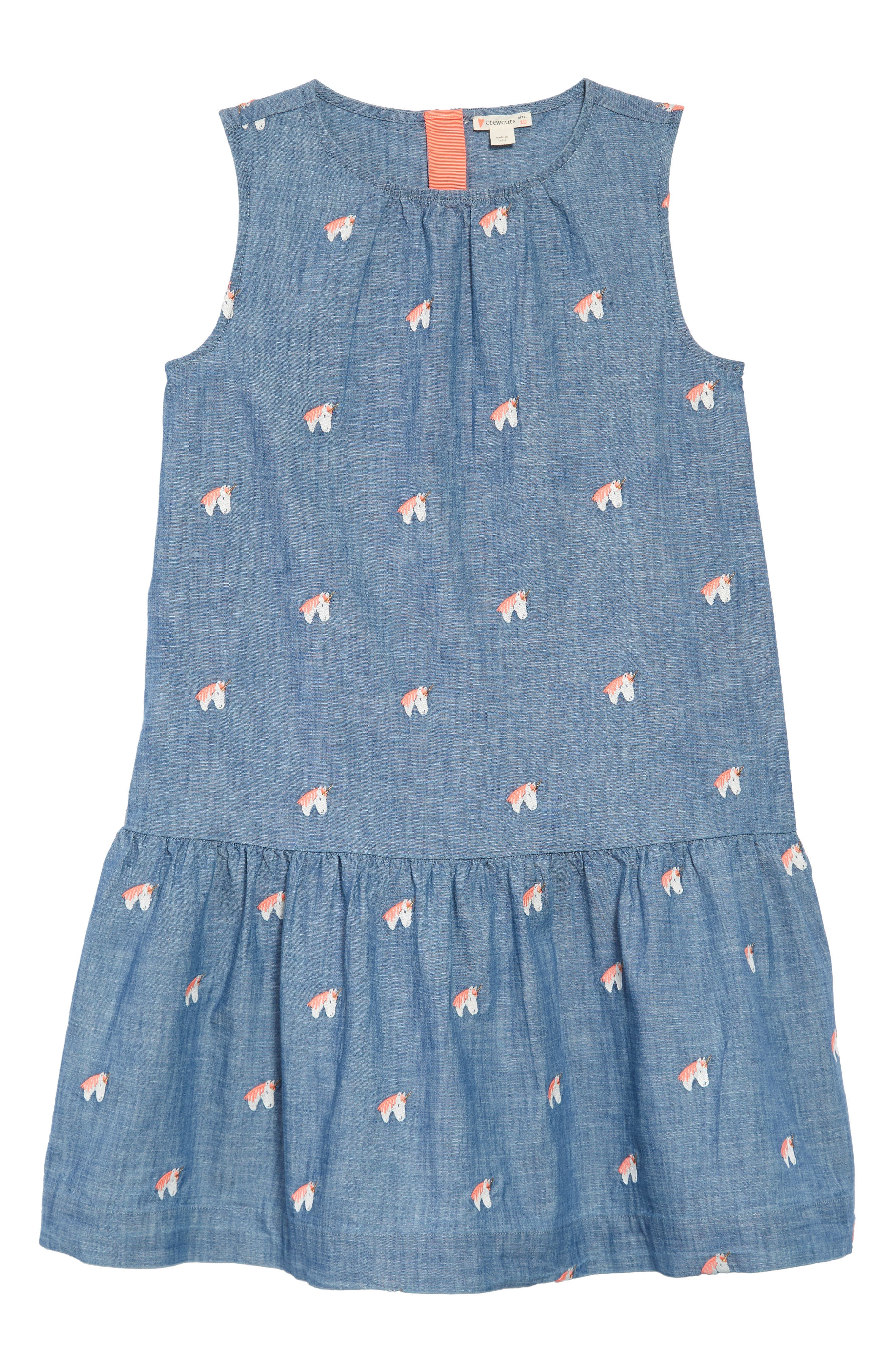 Unicorn Chambray Dress,                             Main thumbnail 1, color,                             SUN BLUE