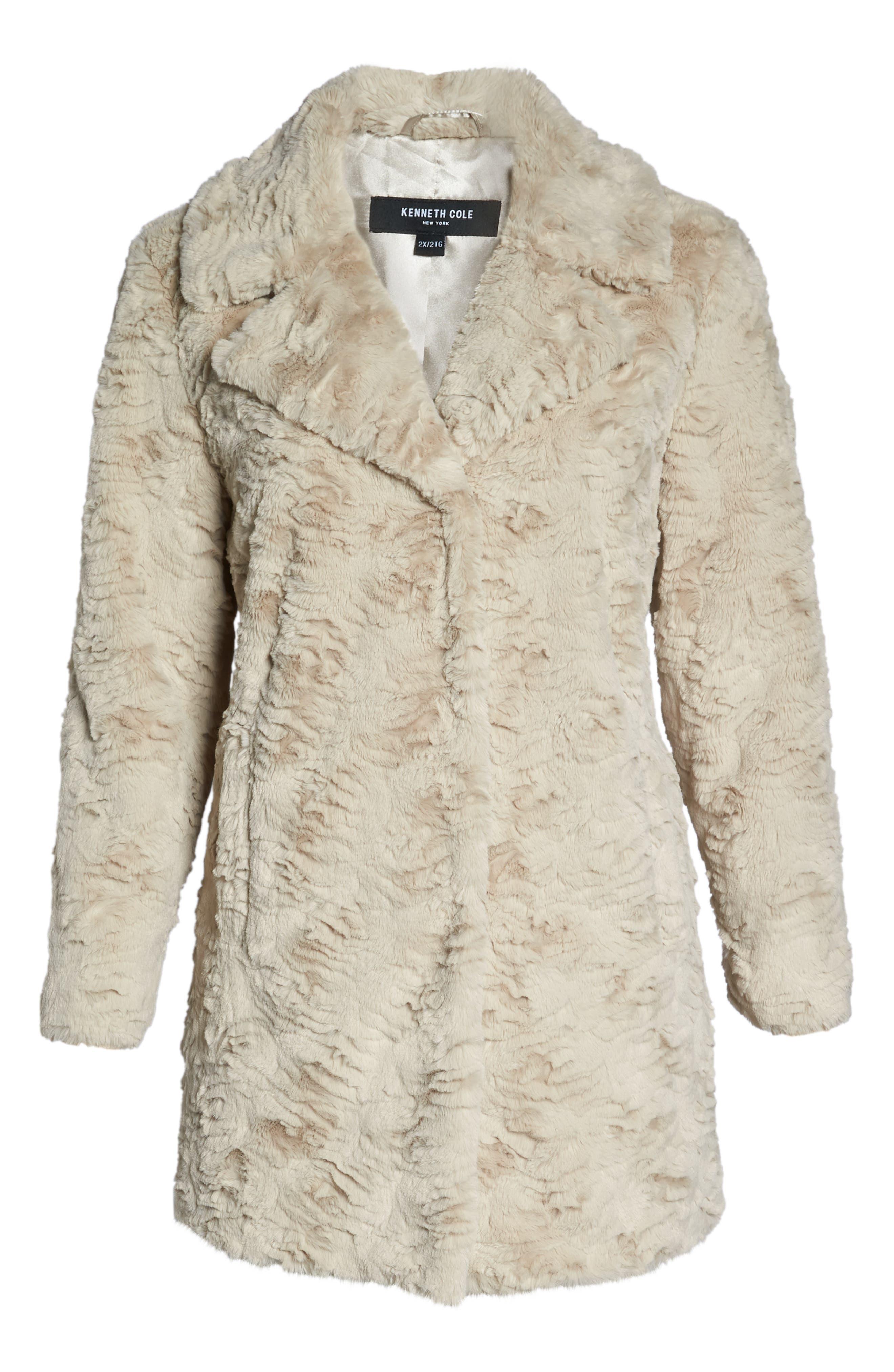 Wubby Faux Fur Coat,                             Alternate thumbnail 6, color,                             SAND