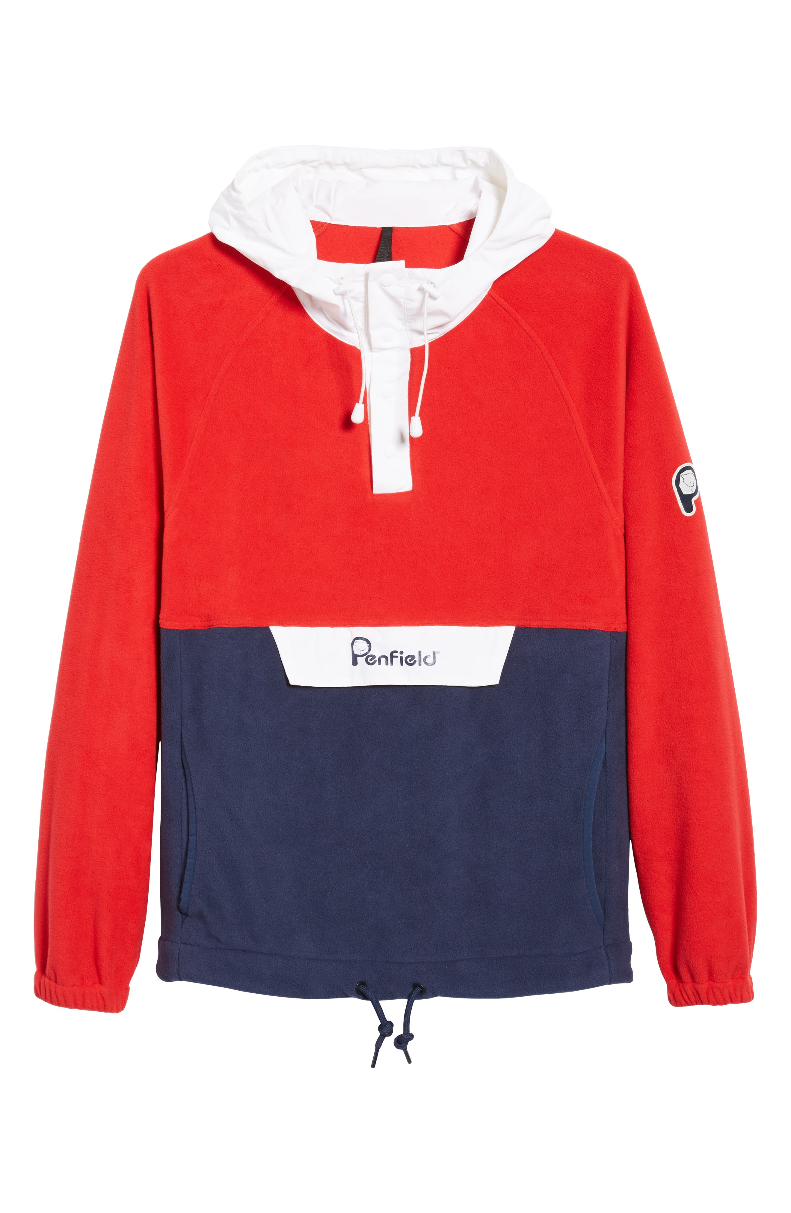 Honnold Colorblock Fleece Pullover Hoodie,                             Alternate thumbnail 7, color,                             MARS RED