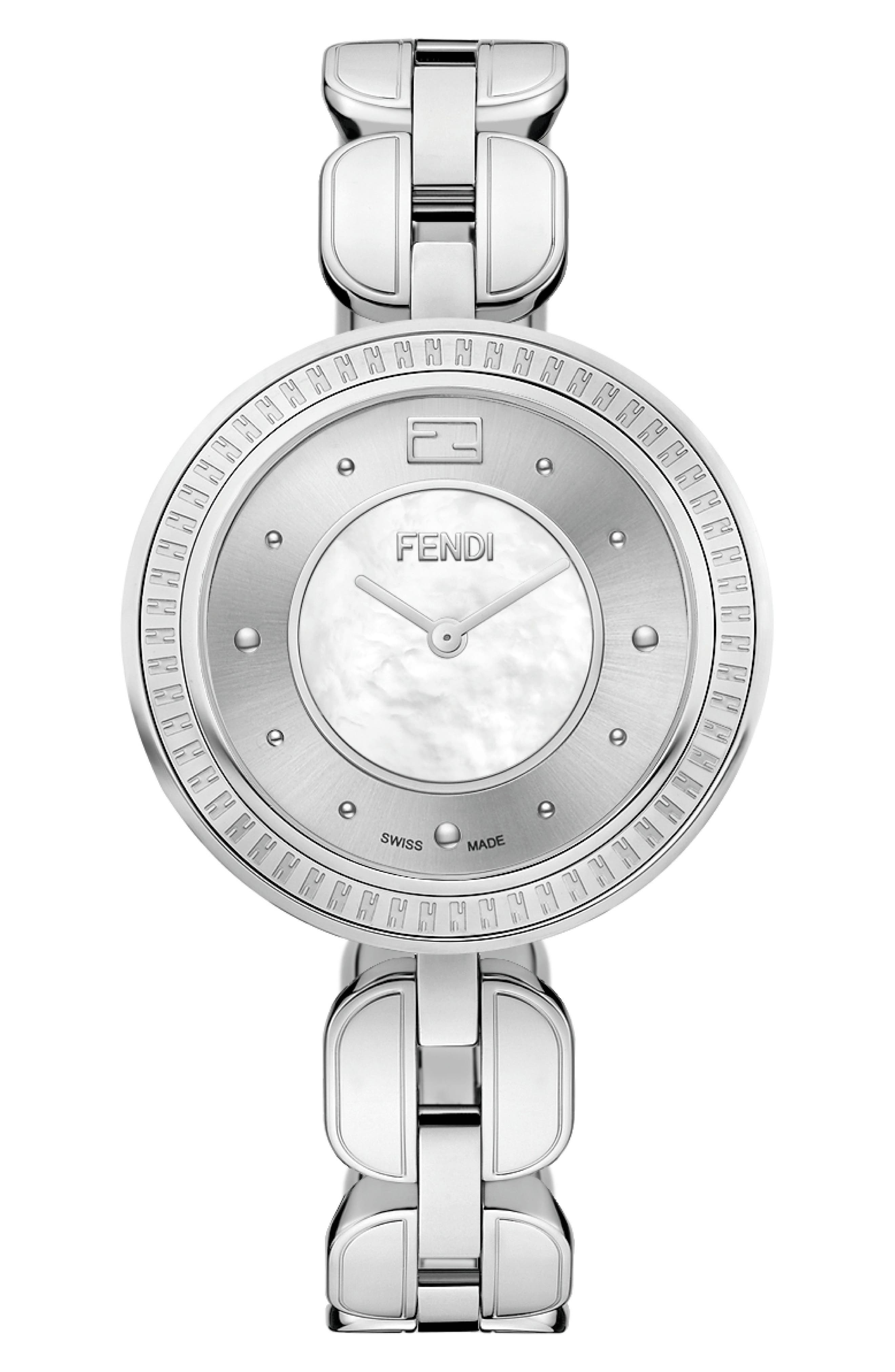 My Way Genuine Fox Fur Bracelet Watch, 36mm, Main, color, WHITE/ SILVER/ GREY