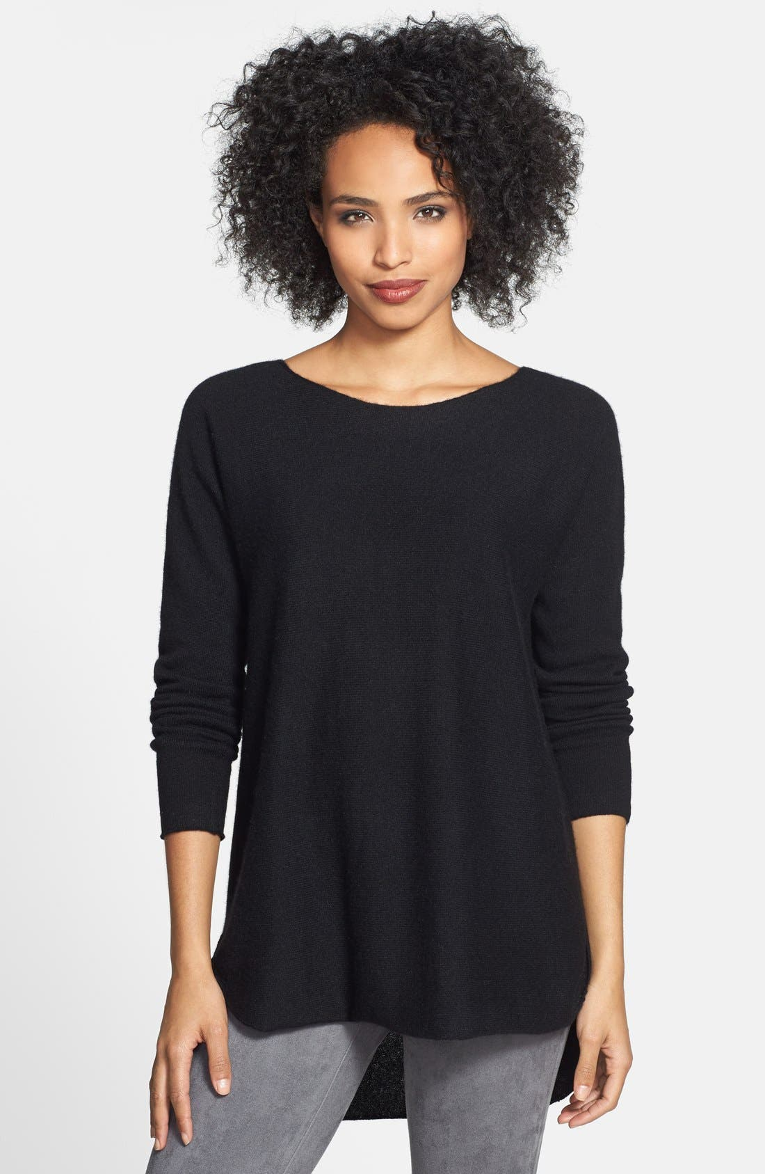 High/Low Cashmere Tunic Sweater,                         Main,                         color, 001