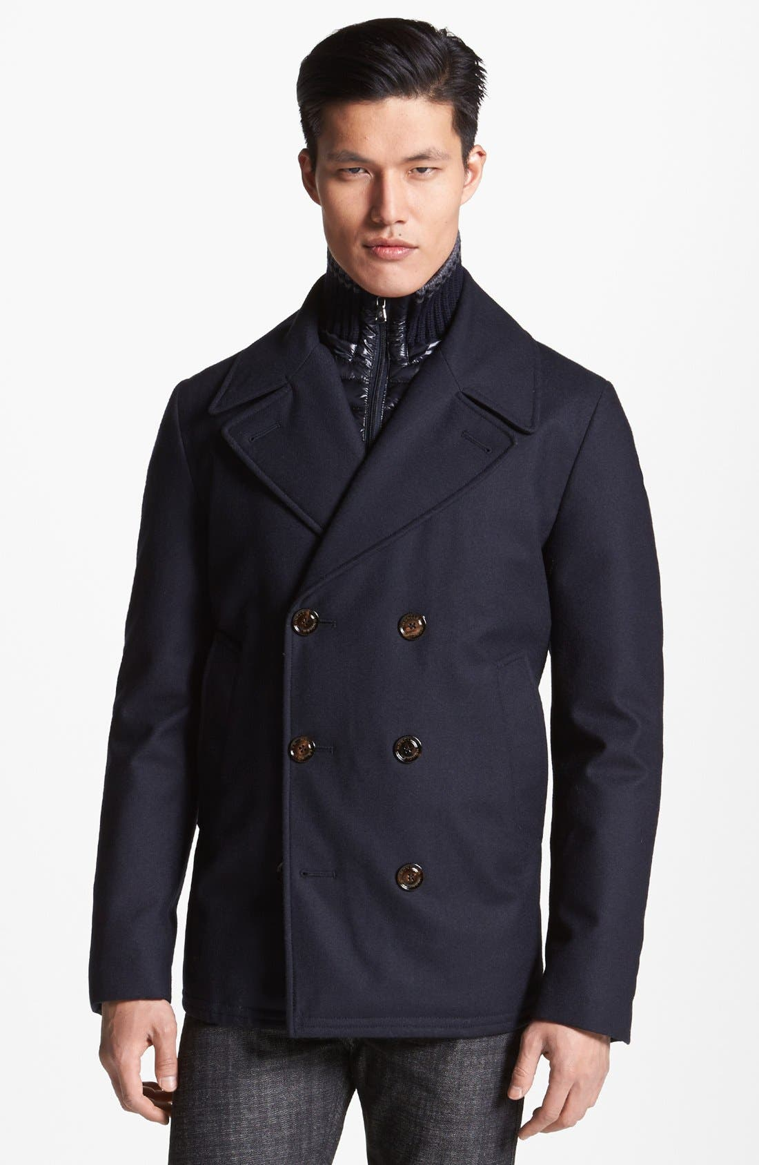 Double Breasted Wool Peacoat with Removable Down Bib, Main, color, 419