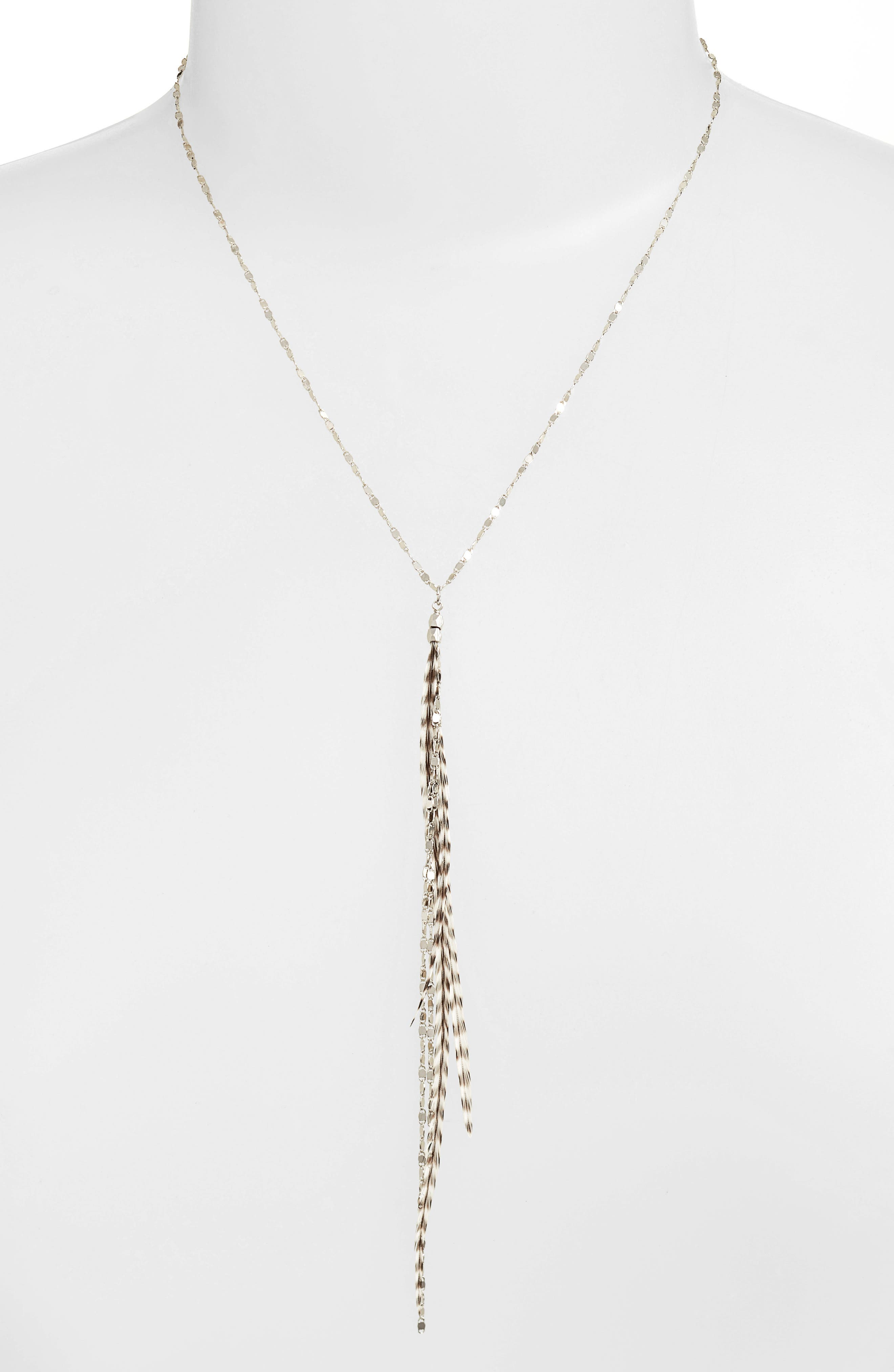 Glistening Feather Y Necklace,                             Alternate thumbnail 4, color,