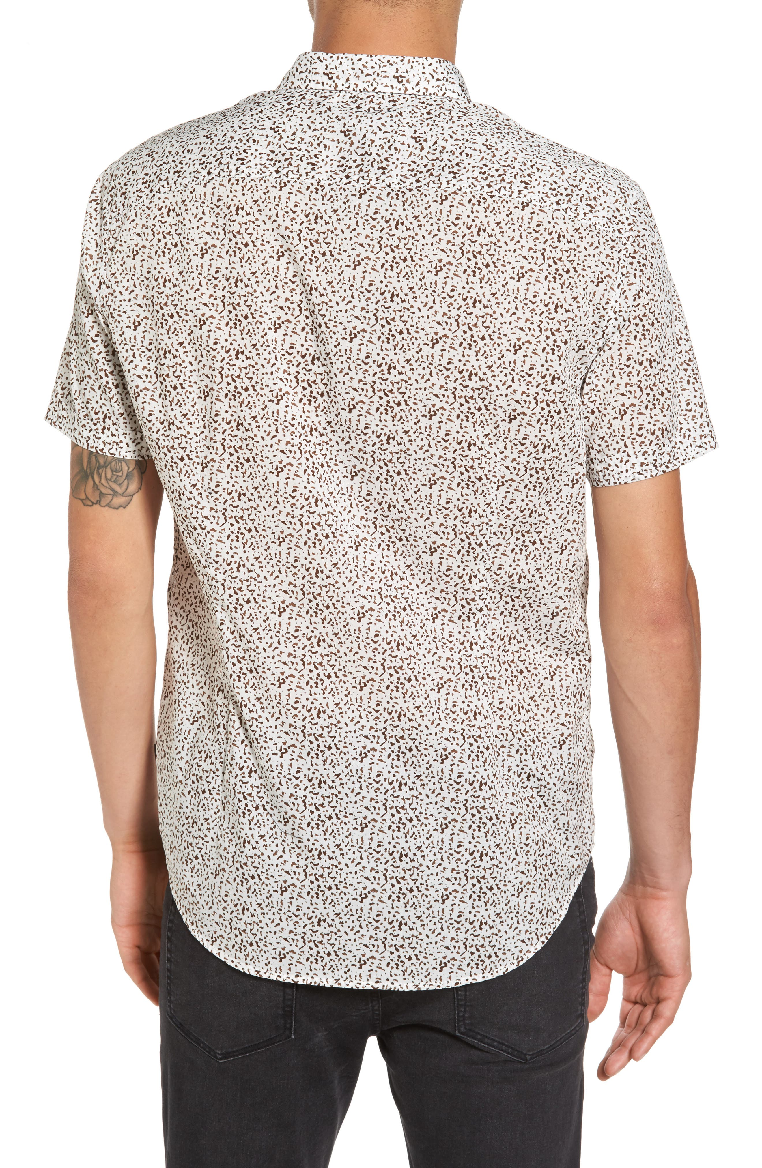 Slim Fit Animal Print Short Sleeve Sport Shirt,                             Alternate thumbnail 2, color,                             LIGHT KHAKI