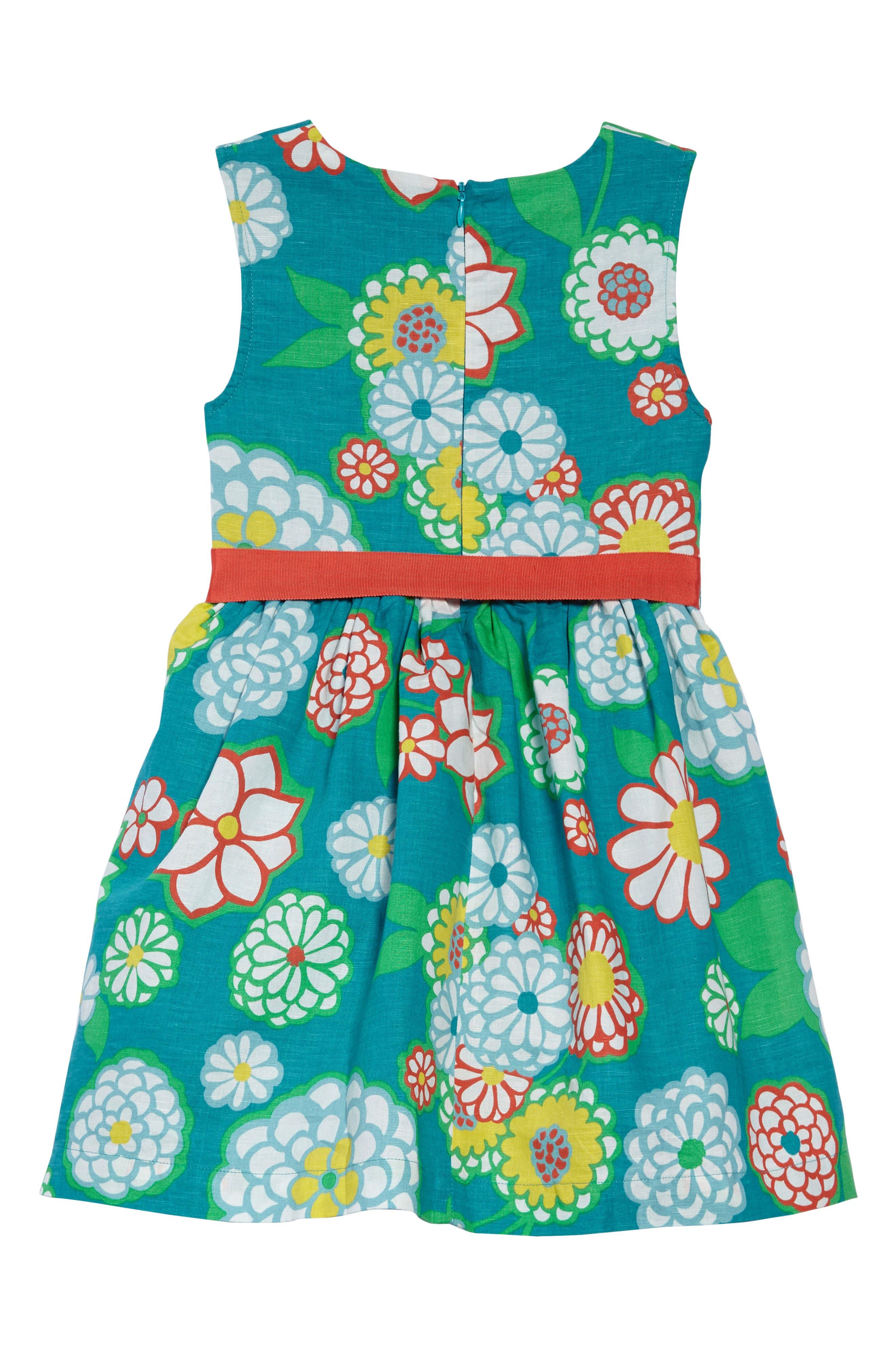 Vintage Linen & Cotton Dress,                             Alternate thumbnail 2, color,                             ULTRAMARINE GREEN DAISY GRN