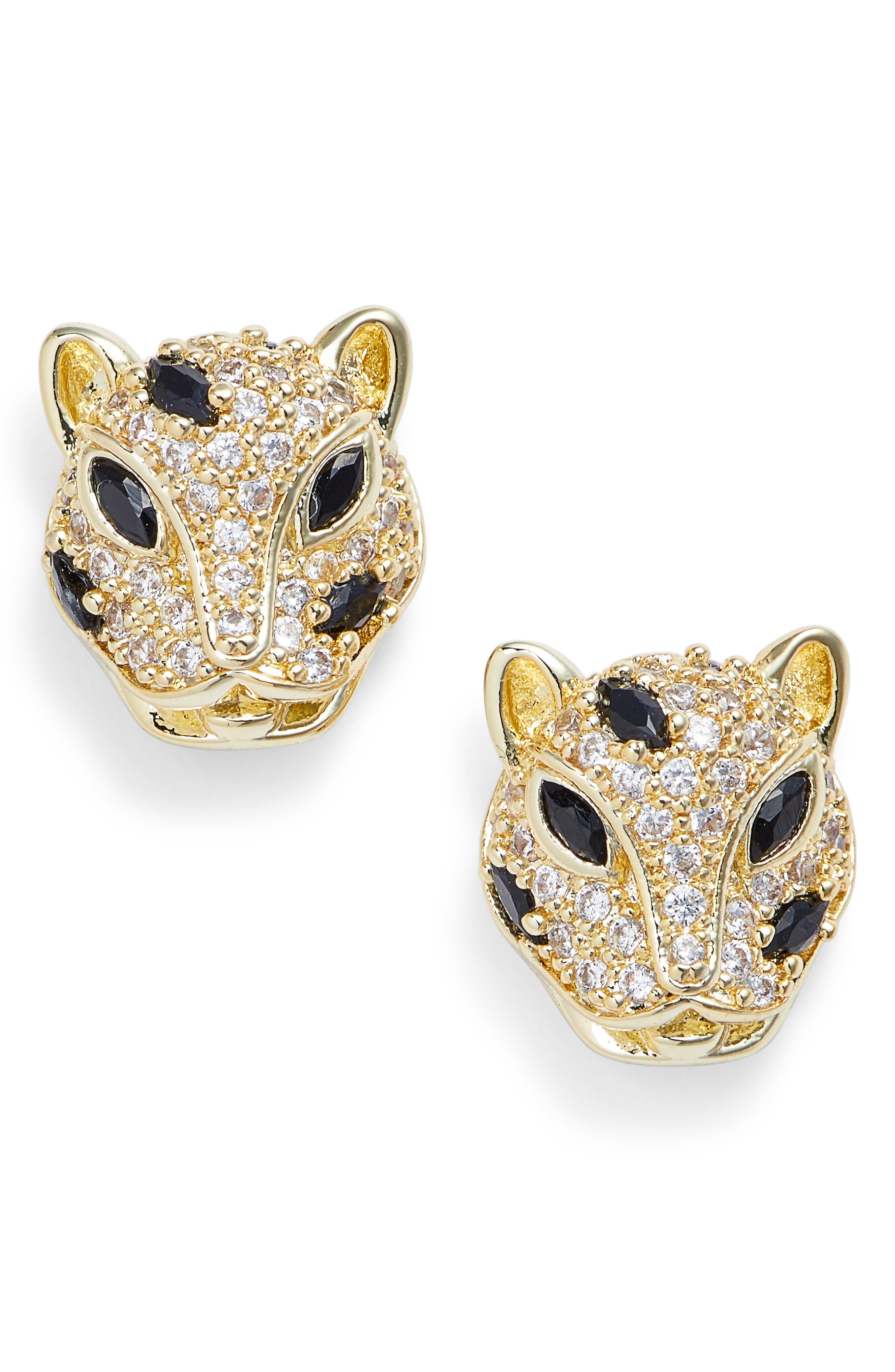 Baby Jaguar Stud Earrings,                             Main thumbnail 1, color,                             GOLD AND WHITE CZ
