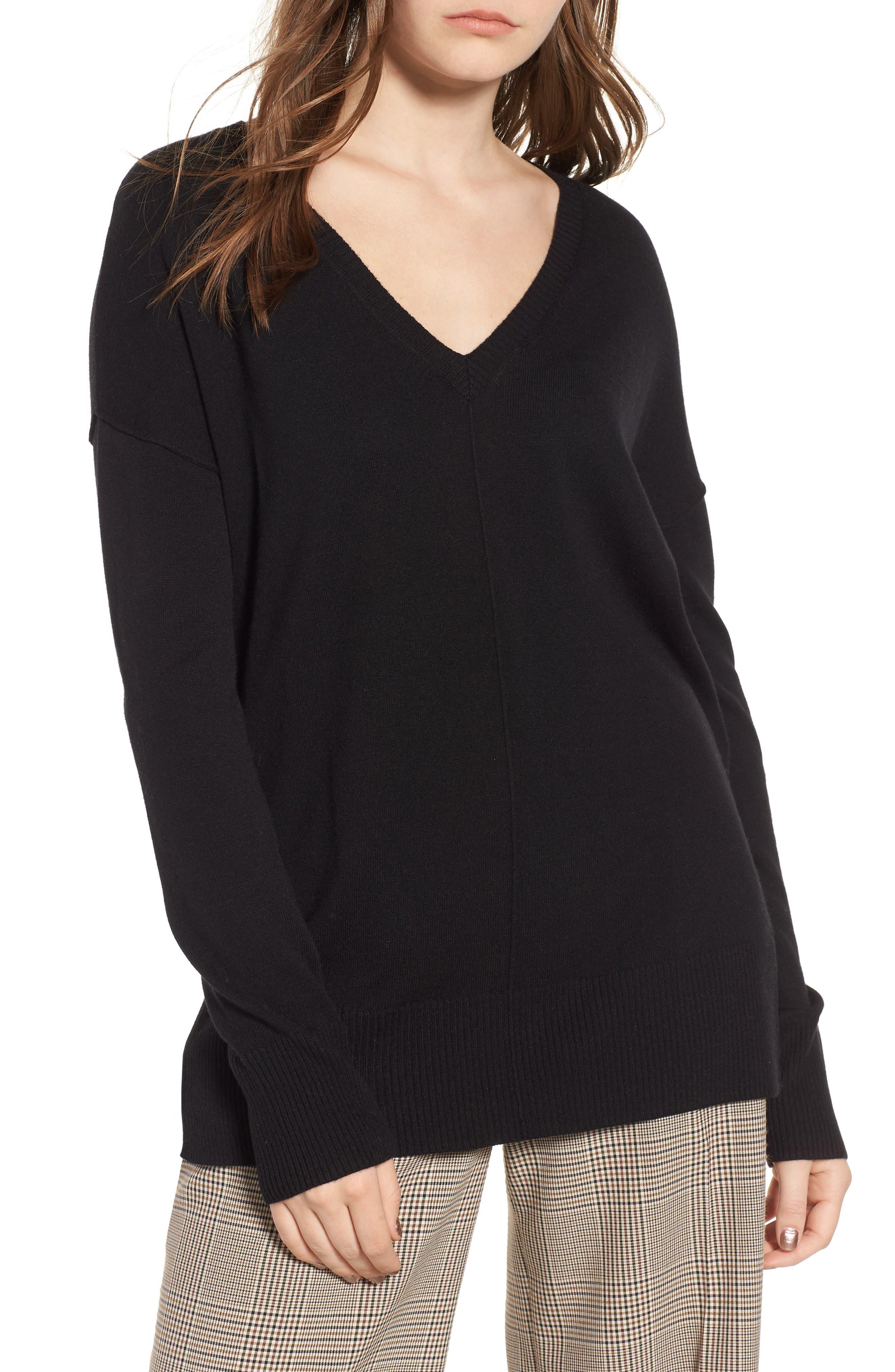 Side Slit Sweater,                             Main thumbnail 1, color,                             001